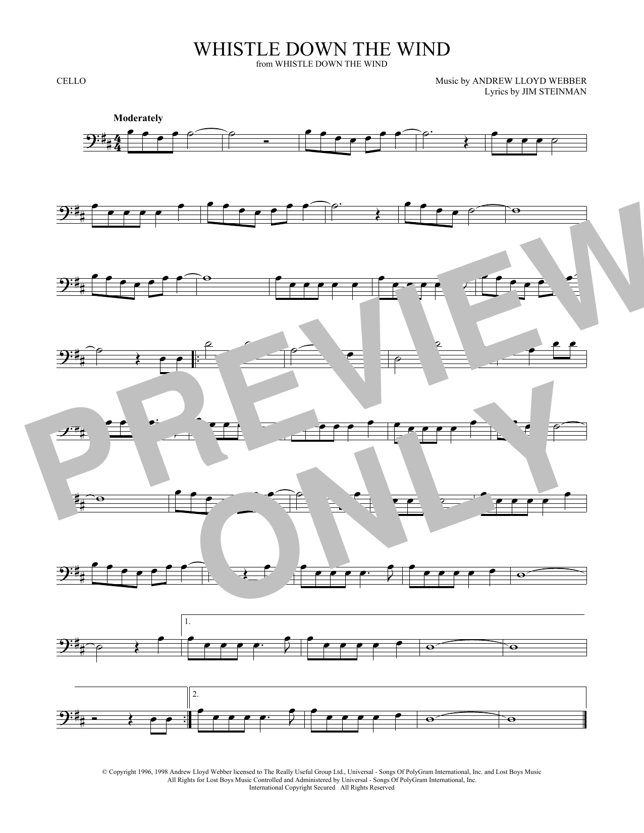 Whistle Down The Wind (Cello Solo)