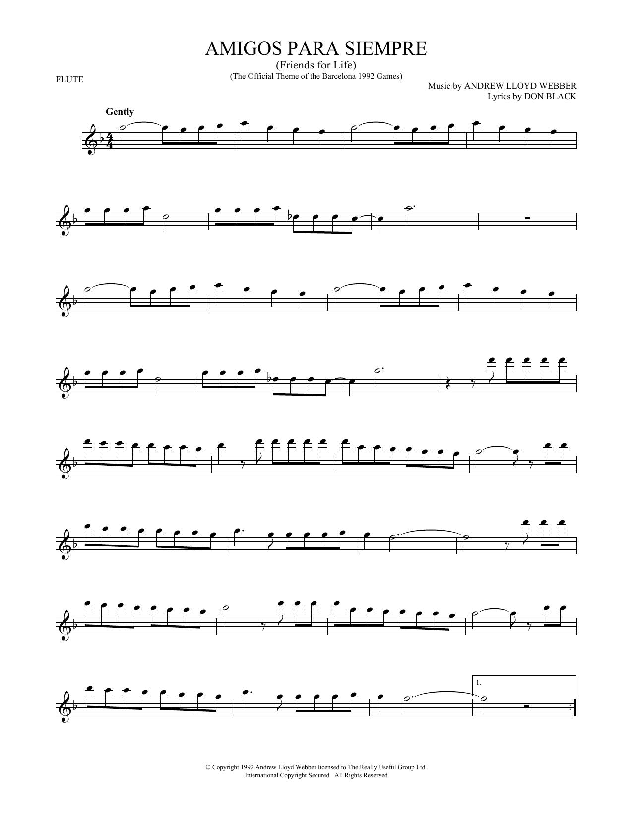 Amigos Para Siempre (Friends For Life) (Flute Solo)