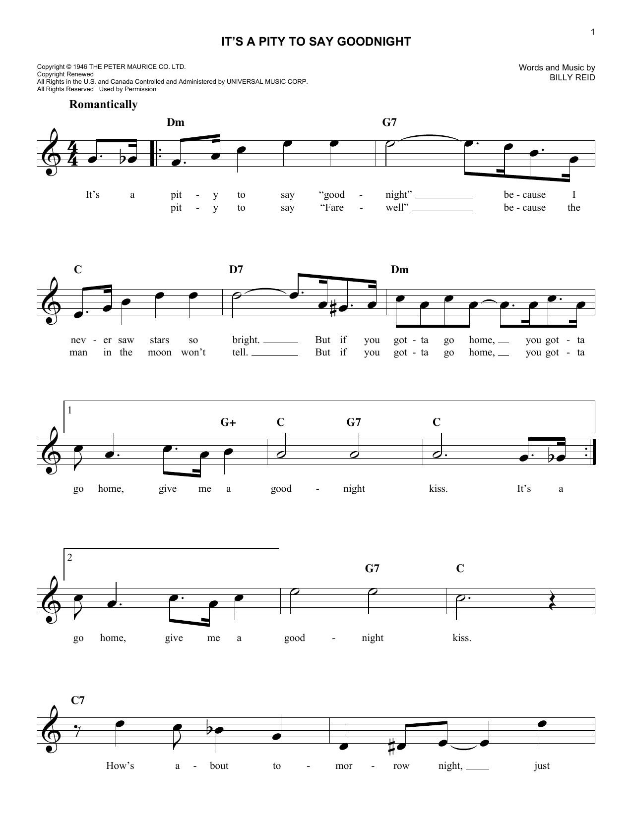It's A Pity To Say Goodnight (Lead Sheet / Fake Book)
