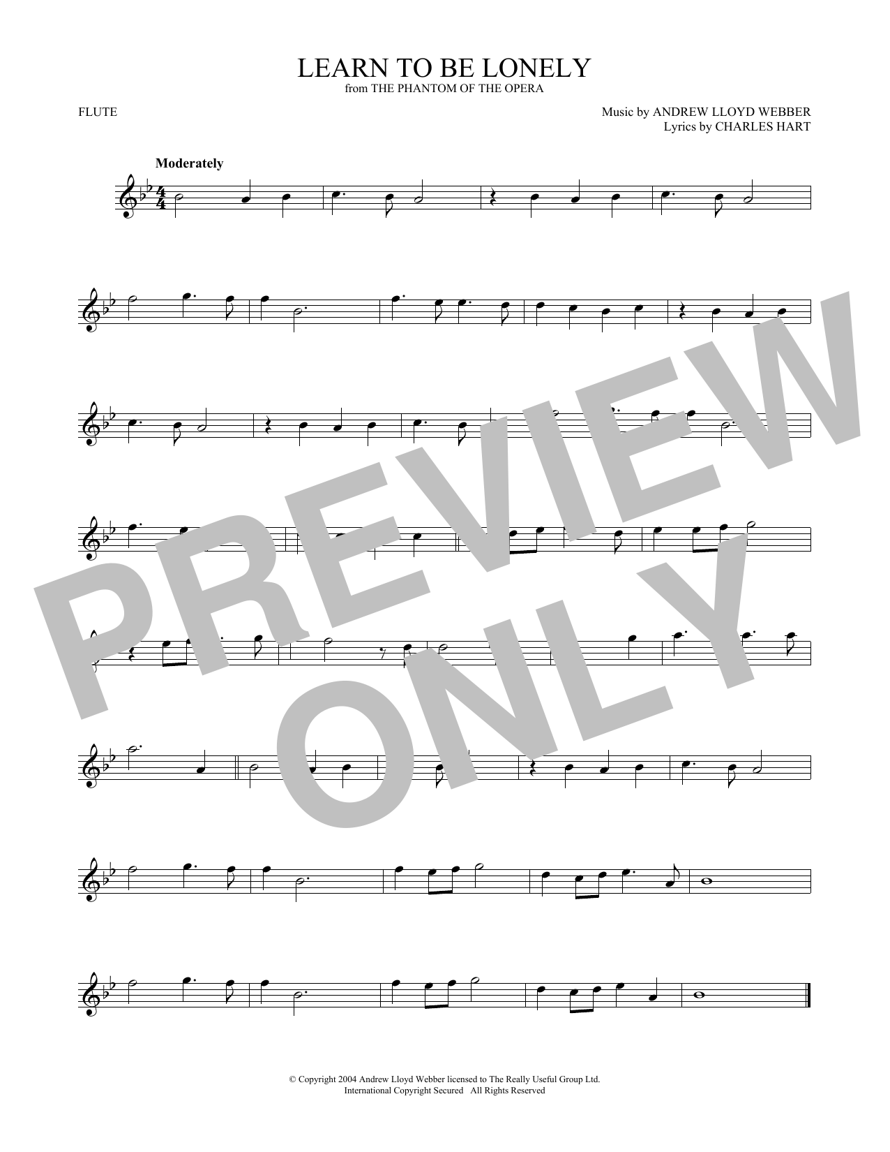 Learn To Be Lonely (from The Phantom Of The Opera) (Flute Solo)