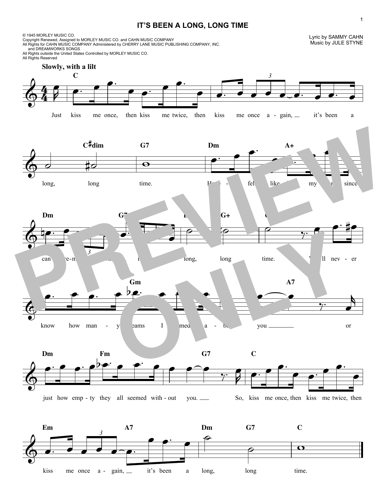 Its been a long long time chords by jule styne melody line its been a long long time sheet music hexwebz Images