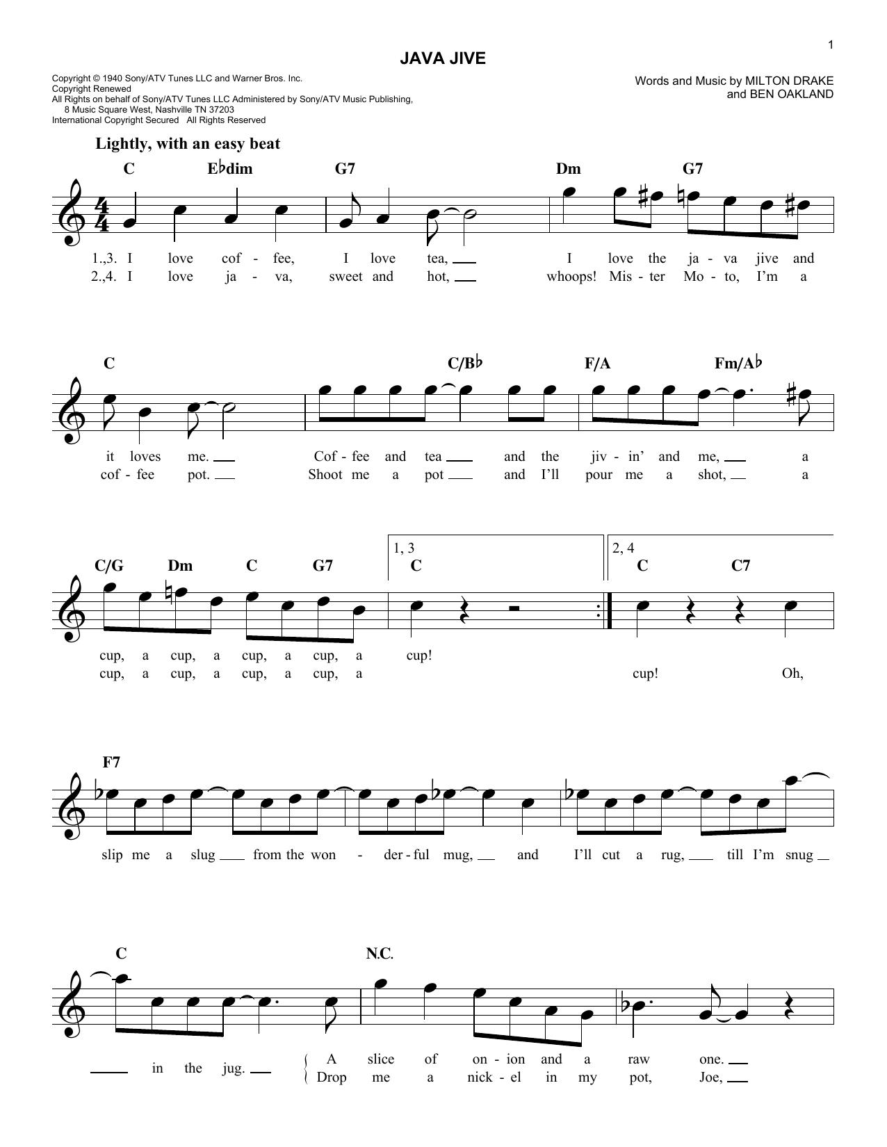 Java Jive Sheet Music
