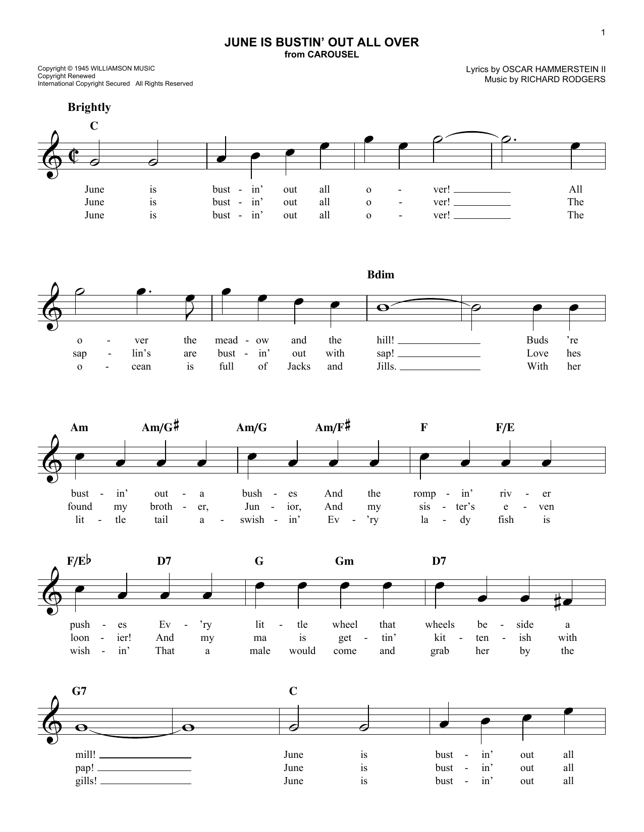 June Is Bustin Out All Over Chords By Rodgers Hammerstein Melody