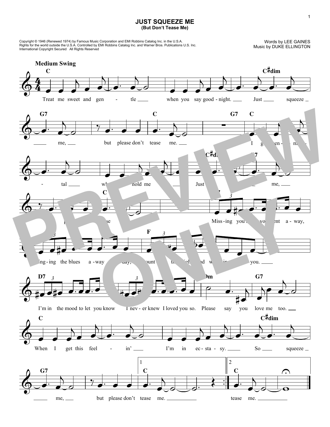 Just Squeeze Me (But Don't Tease Me) (Lead Sheet / Fake Book)