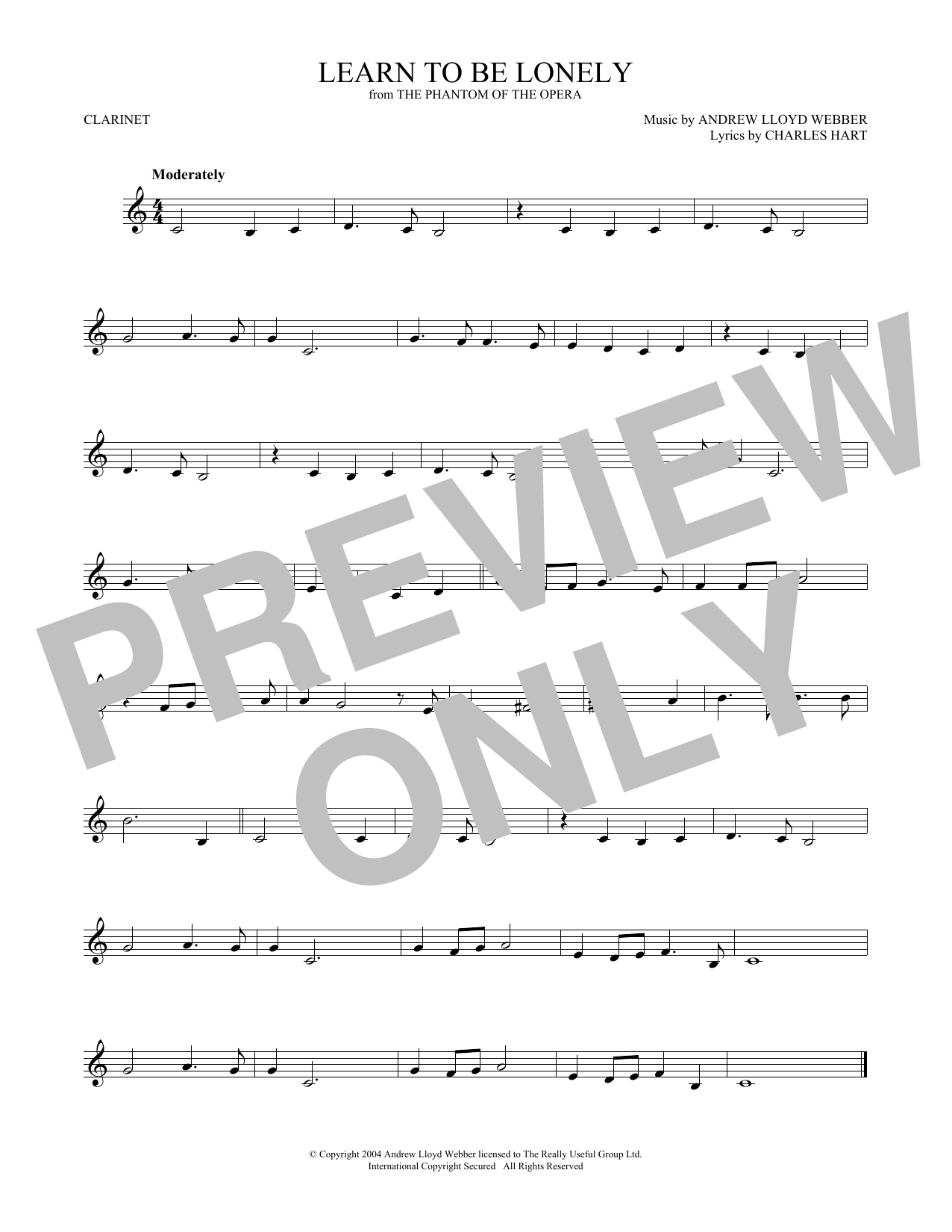 Learn To Be Lonely (from The Phantom Of The Opera) (Clarinet Solo)