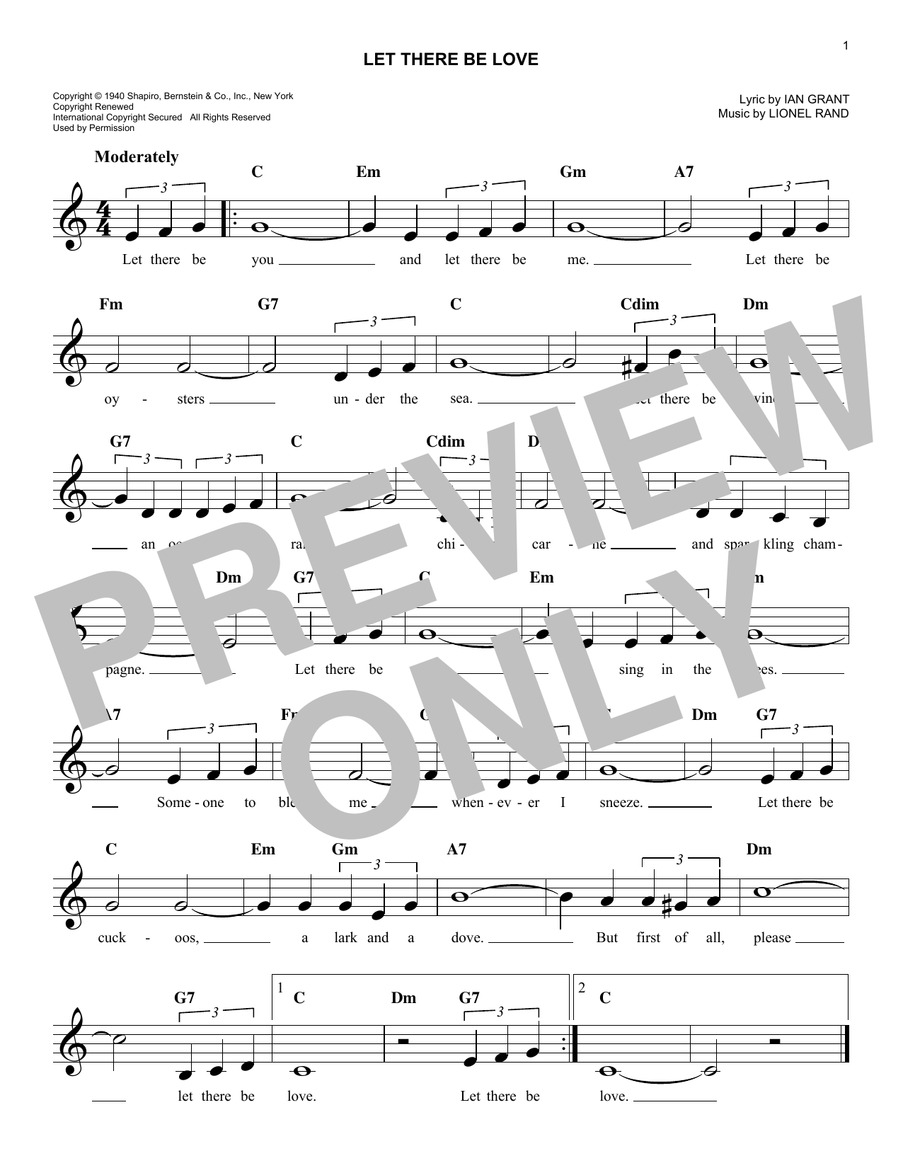 Let There Be Love (Lead Sheet / Fake Book)