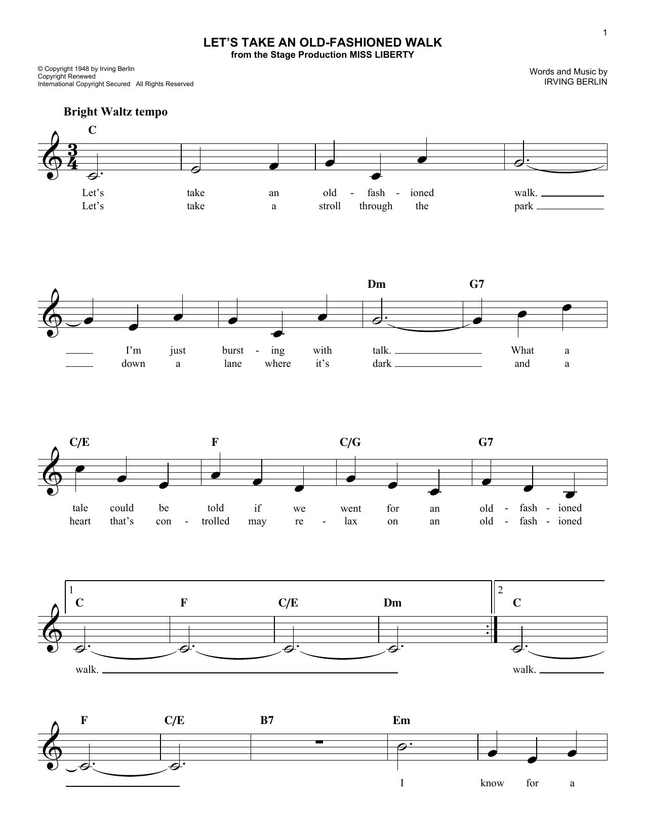 Let's Take An Old-Fashioned Walk (Melody Line, Lyrics & Chords)