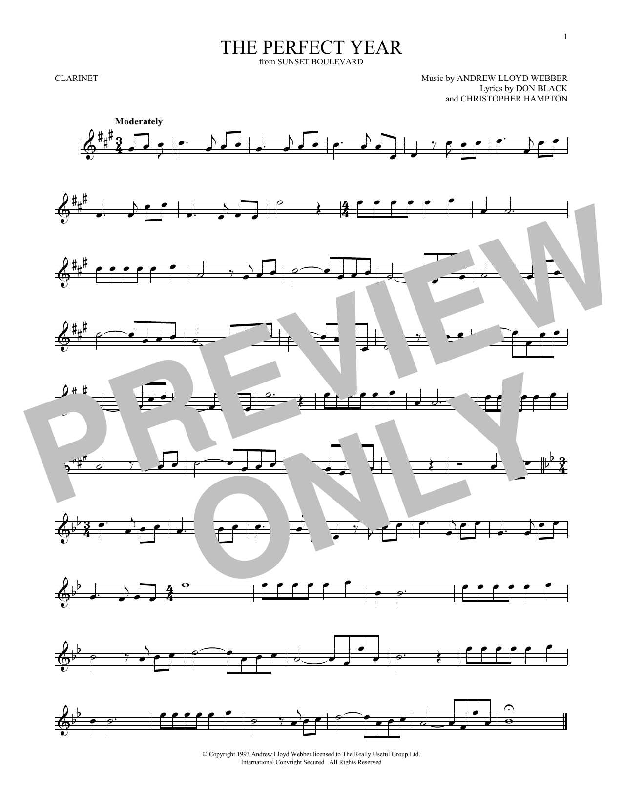The Perfect Year (from Sunset Boulevard) (Clarinet Solo)