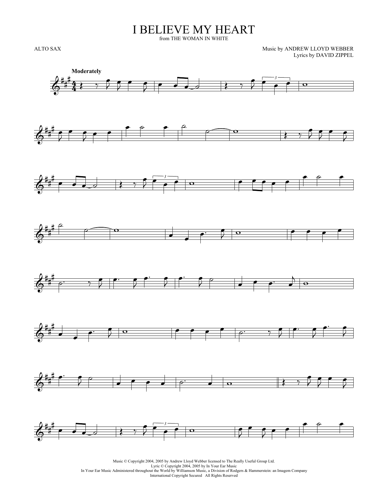 I Believe My Heart (from The Woman In White) (Alto Sax Solo)