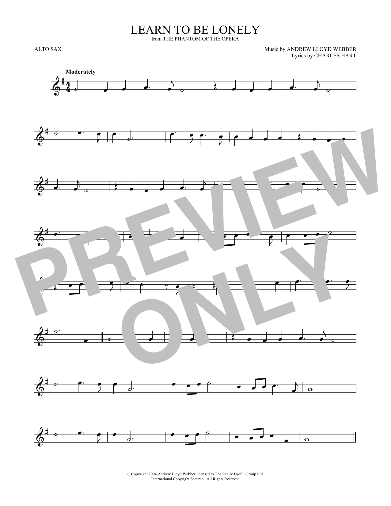 Learn To Be Lonely (from The Phantom Of The Opera) (Alto Sax Solo)