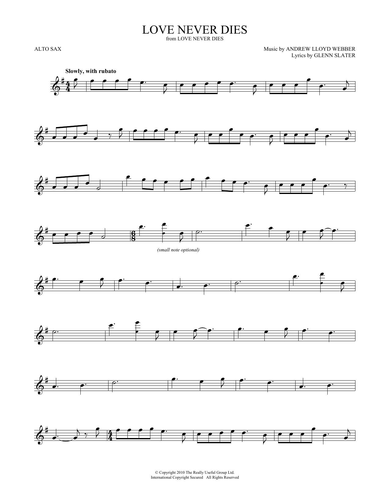 Love Never Dies (Alto Sax Solo)
