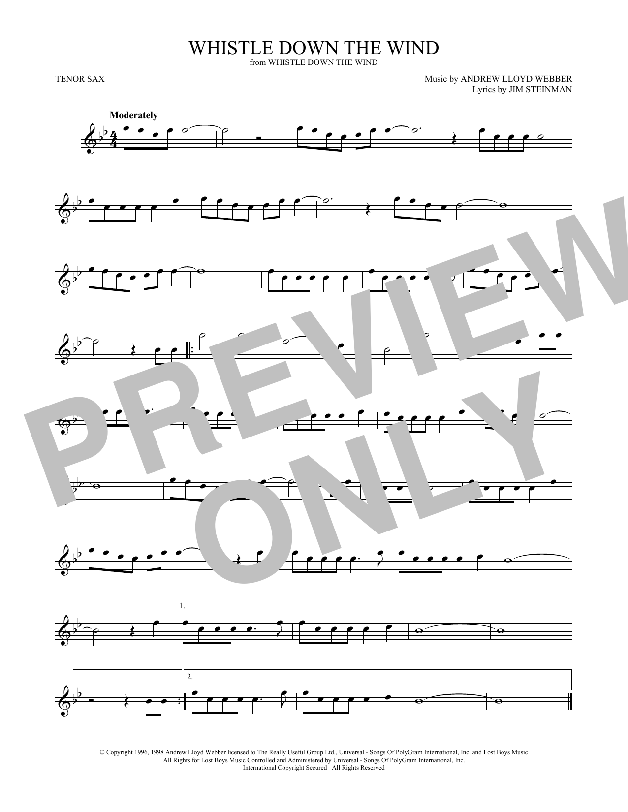 Whistle Down The Wind (Tenor Sax Solo)