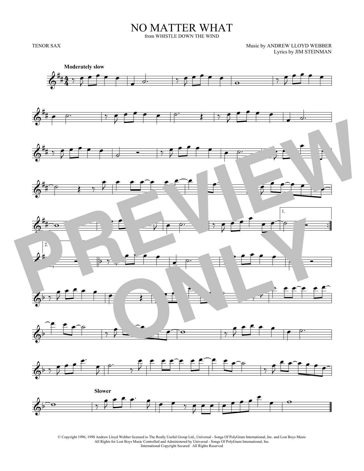 No Matter What (from Whistle Down the Wind) (Tenor Sax Solo)