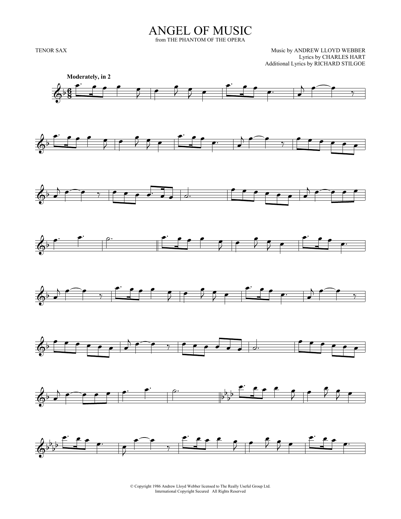 Angel Of Music (from The Phantom Of The Opera) (Tenor Sax Solo)