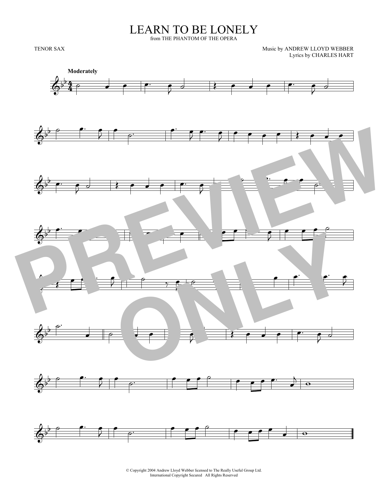 Learn To Be Lonely (from The Phantom Of The Opera) (Tenor Sax Solo)