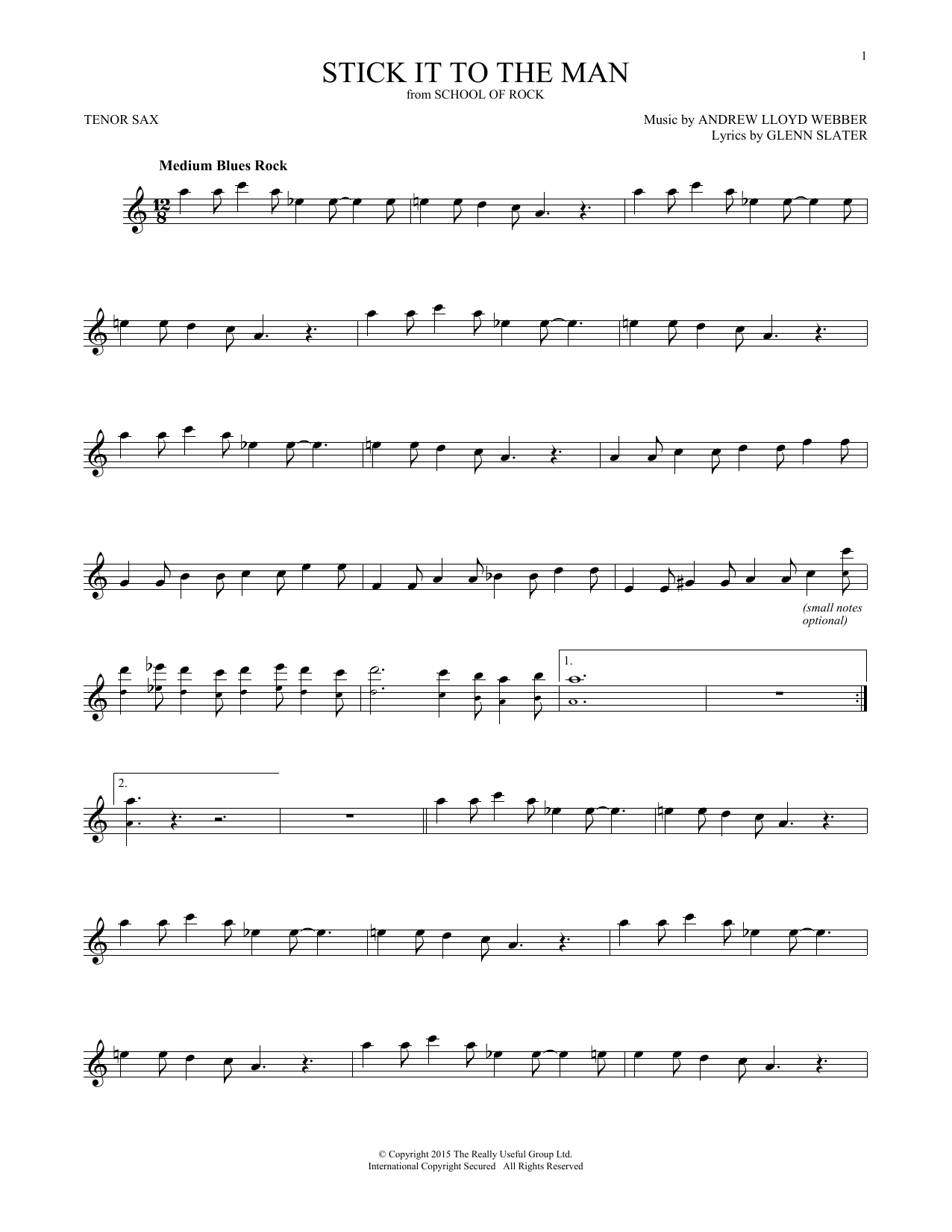 Stick It To The Man (from School of Rock: The Musical) (Tenor Sax Solo)