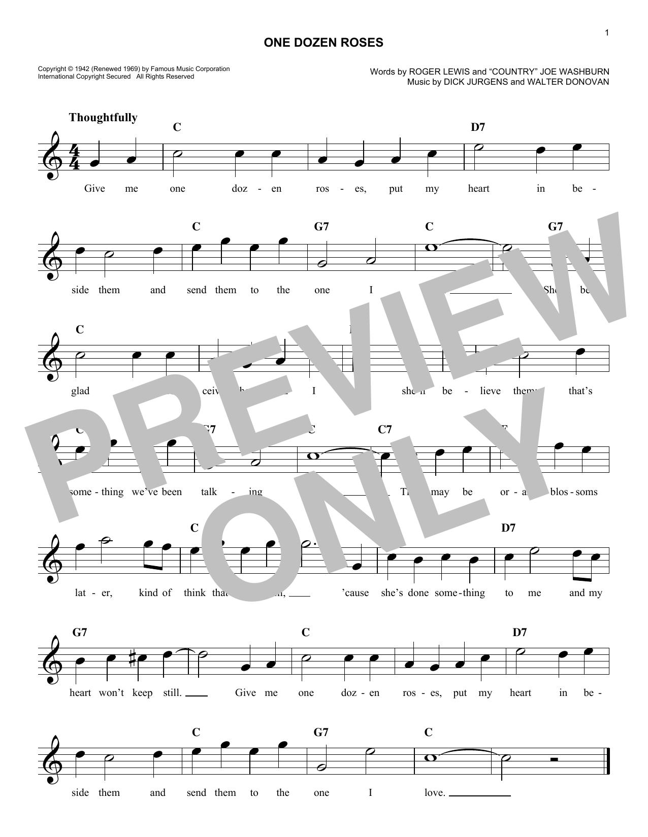One Dozen Roses Sheet Music