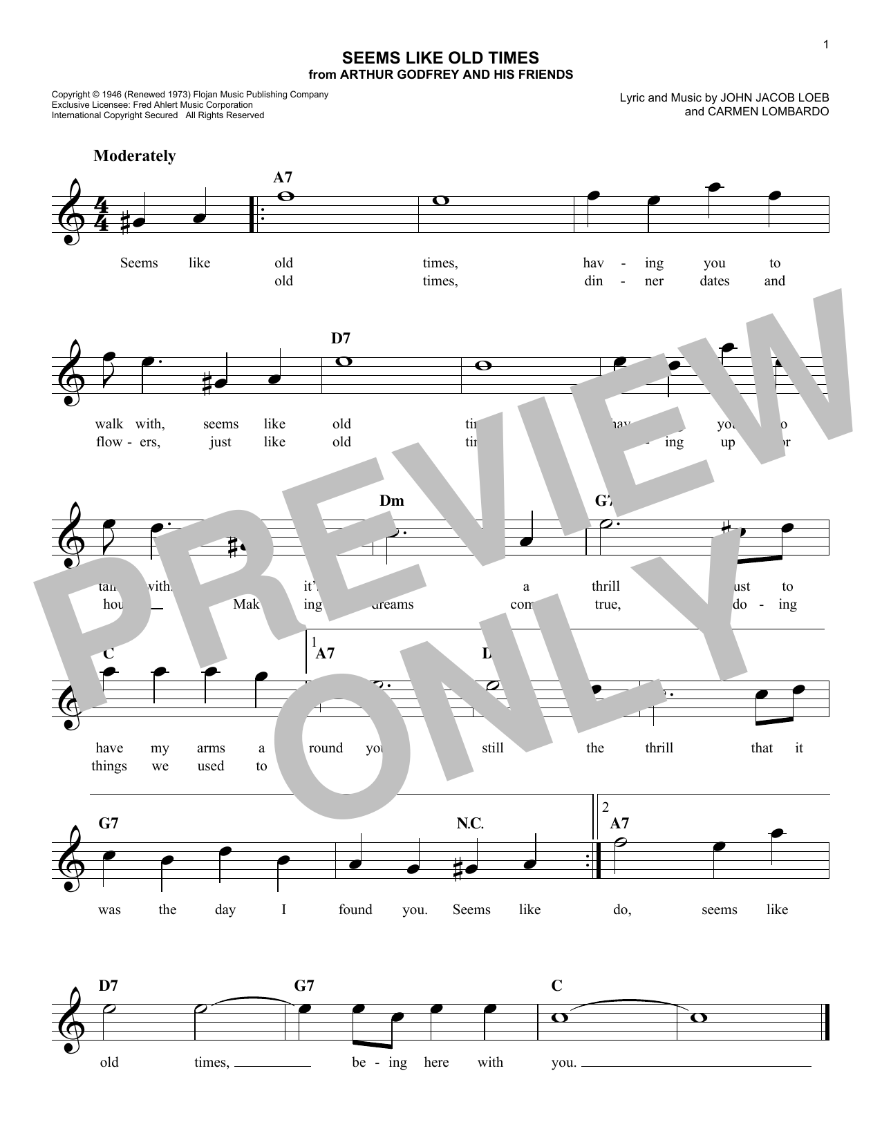 Seems Like Old Times Sheet Music