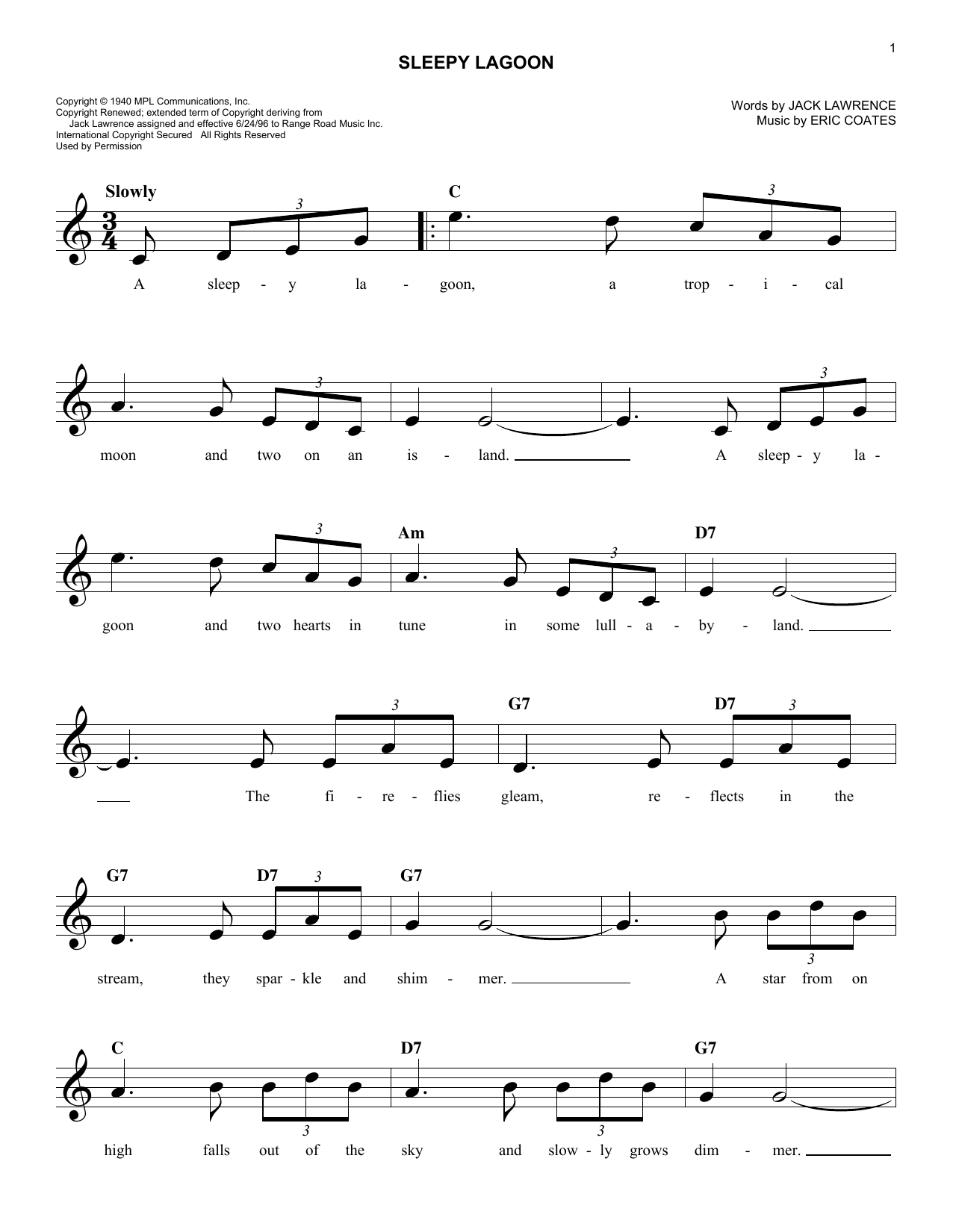 Sleepy Lagoon Sheet Music