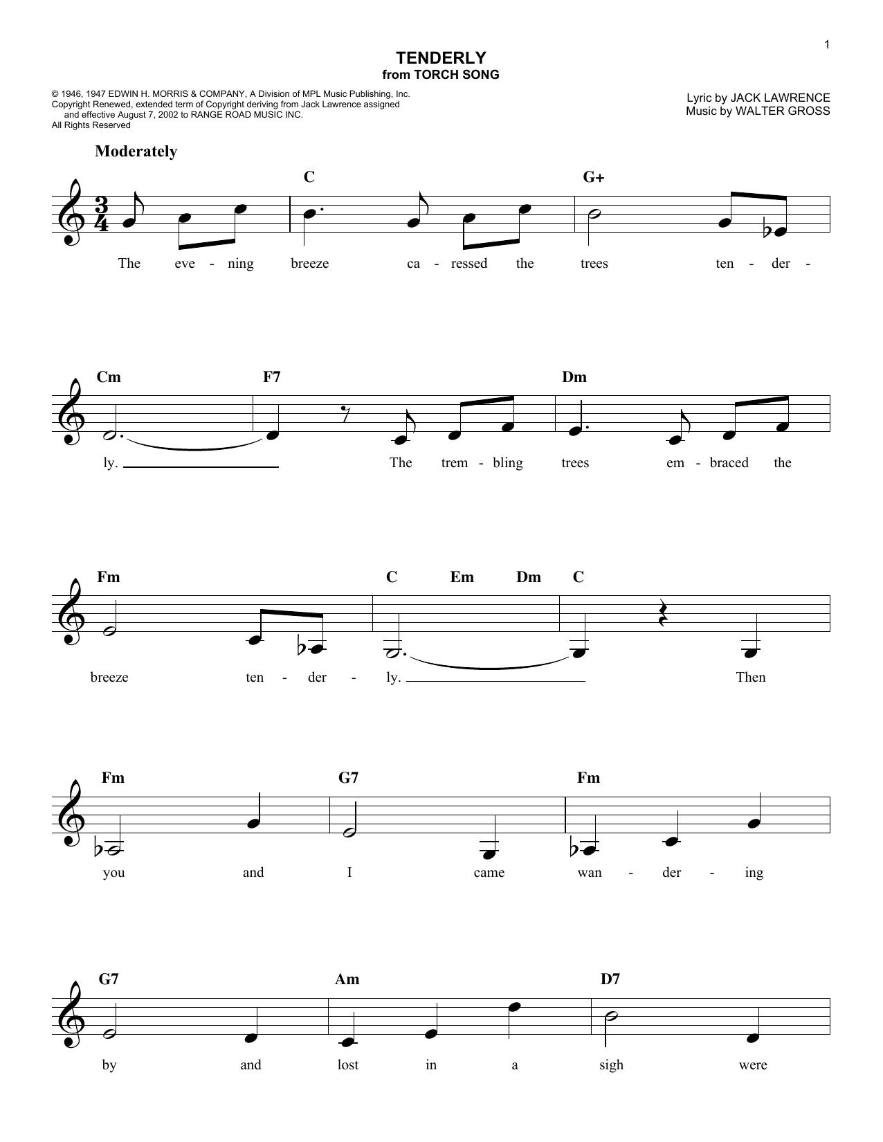 Tenderly (Melody Line, Lyrics & Chords)