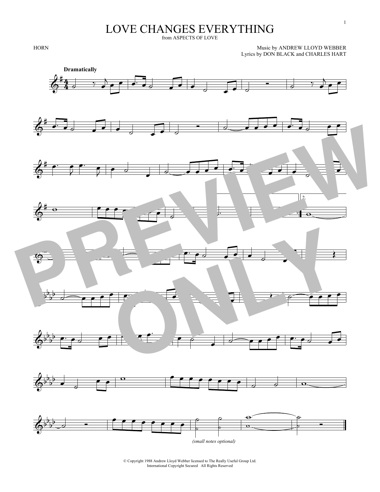 Love Changes Everything (from Aspects of Love) (French Horn Solo)