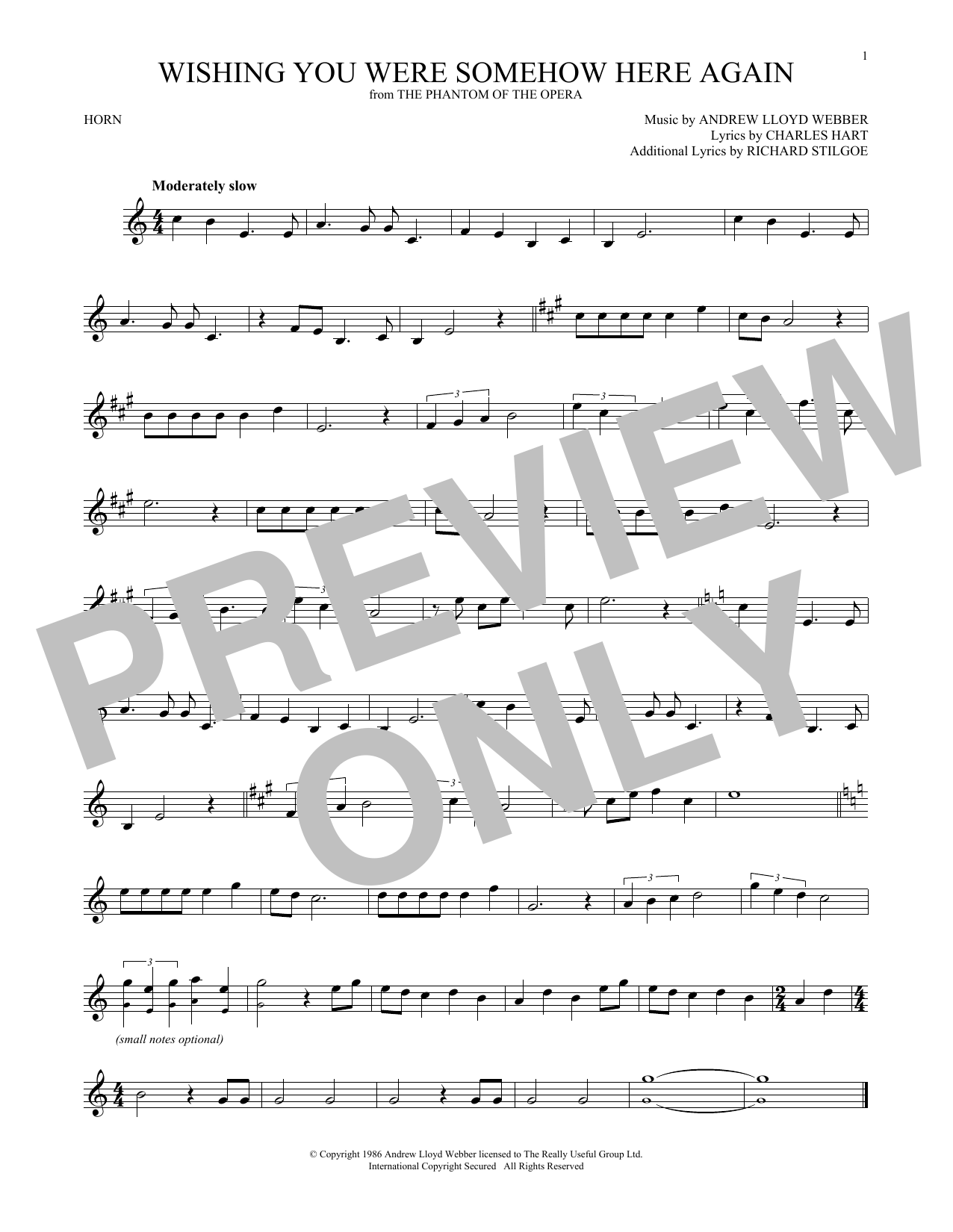 Wishing You Were Somehow Here Again (from The Phantom Of The Opera) (French Horn Solo)