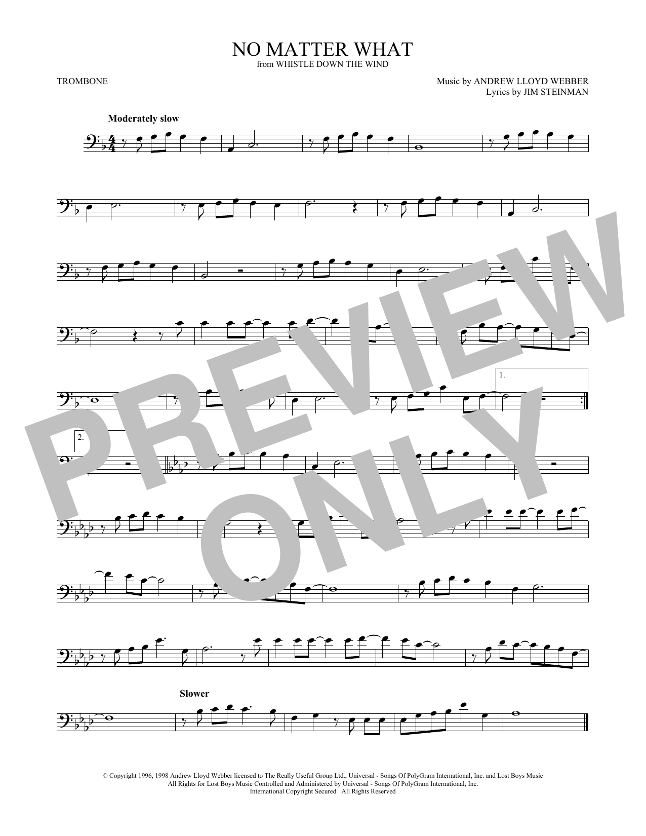 No Matter What (from Whistle Down the Wind) (Trombone Solo)