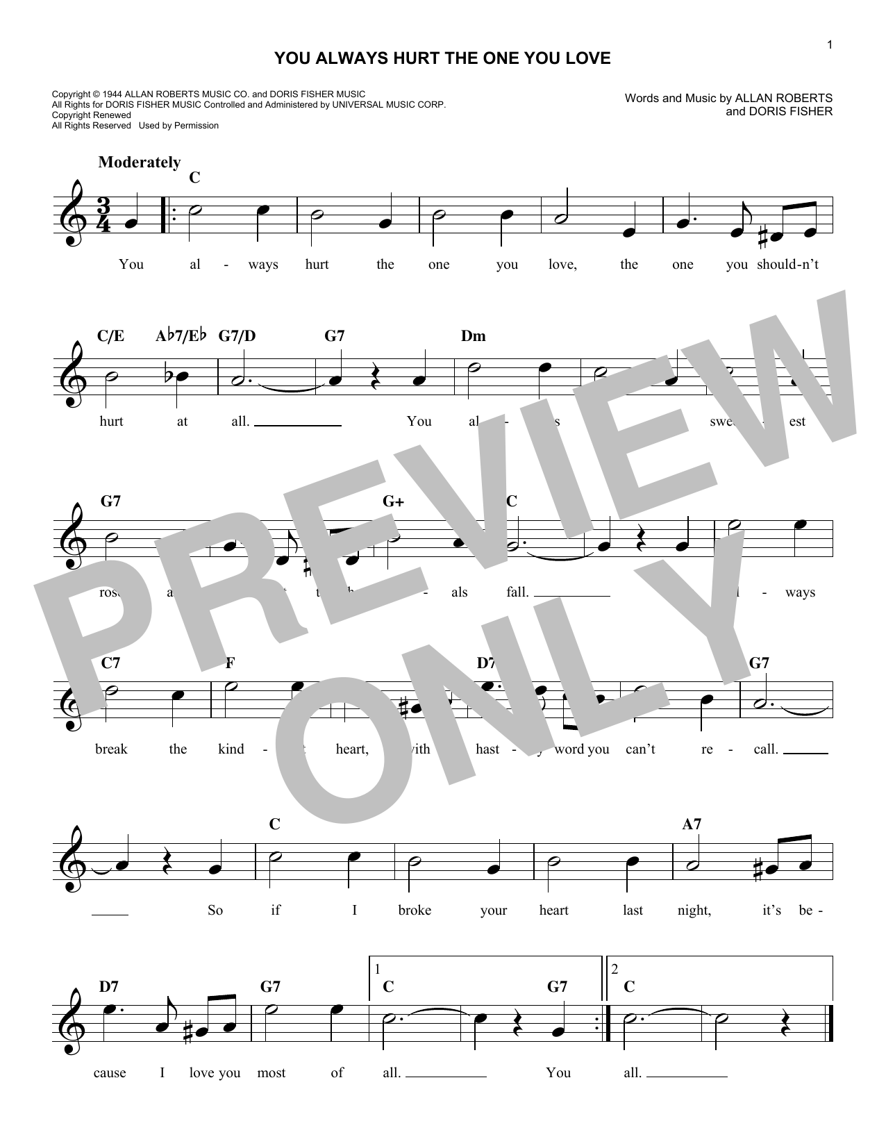 You Always Hurt The One You Love (Lead Sheet / Fake Book)