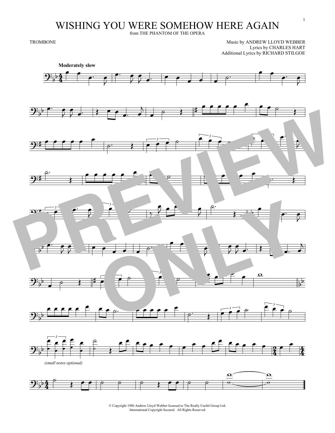Wishing You Were Somehow Here Again (from The Phantom Of The Opera) (Trombone Solo)