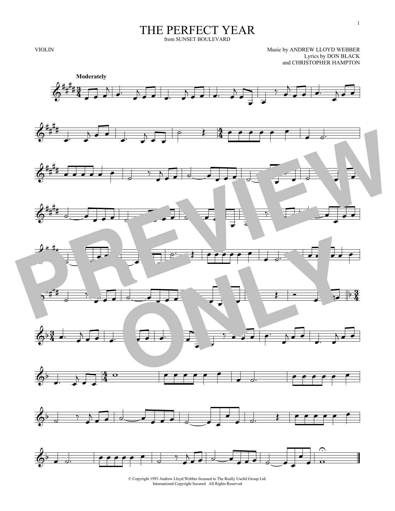 The Perfect Year (from Sunset Boulevard) (Violin Solo)