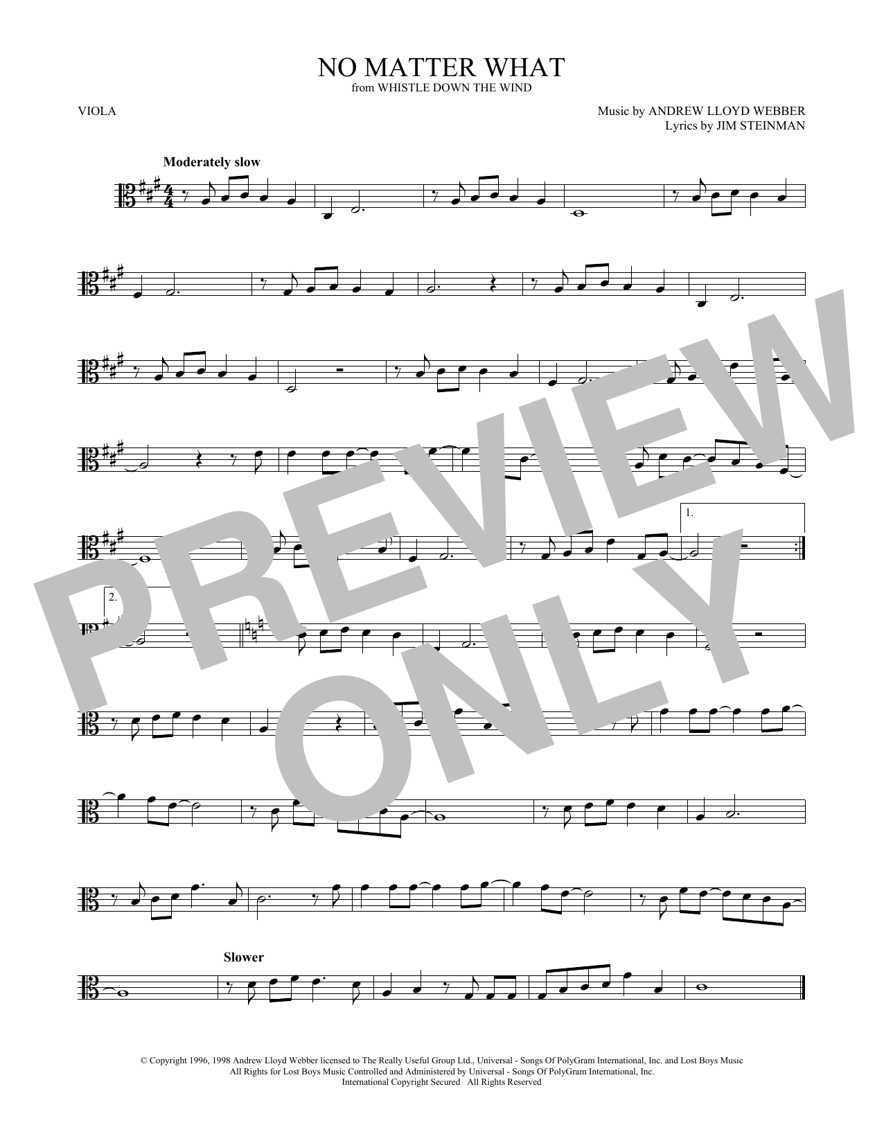 No Matter What (from Whistle Down the Wind) (Viola Solo)