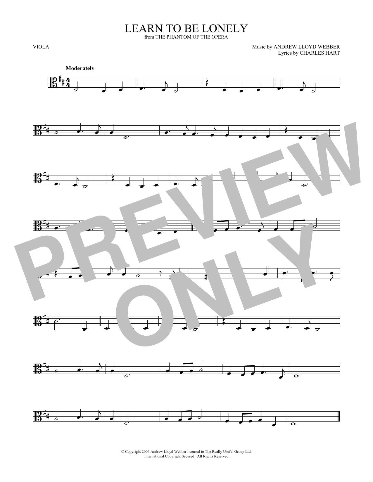 Learn To Be Lonely (from The Phantom Of The Opera) (Viola Solo)