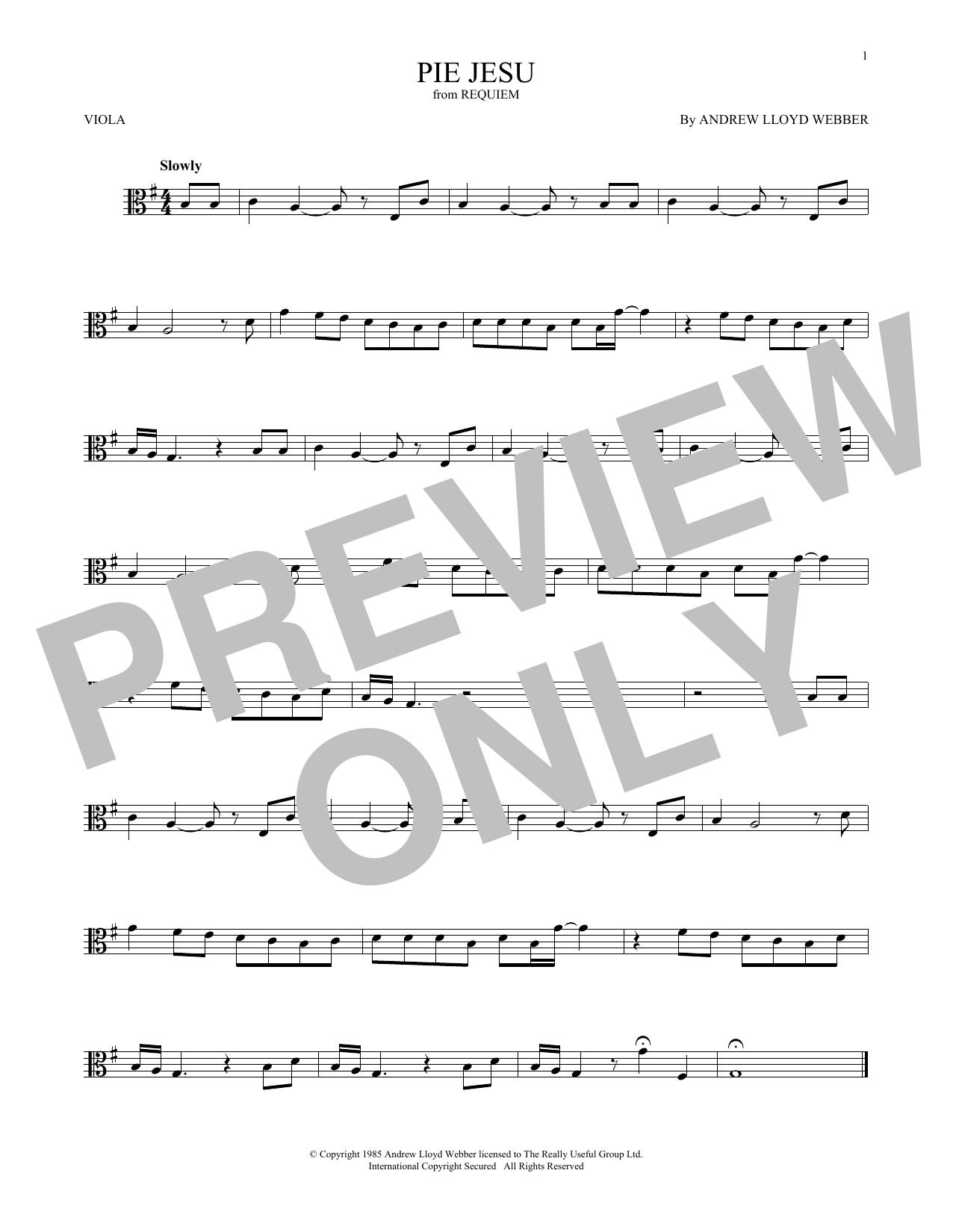 Pie Jesu (from Requiem) (Viola Solo)