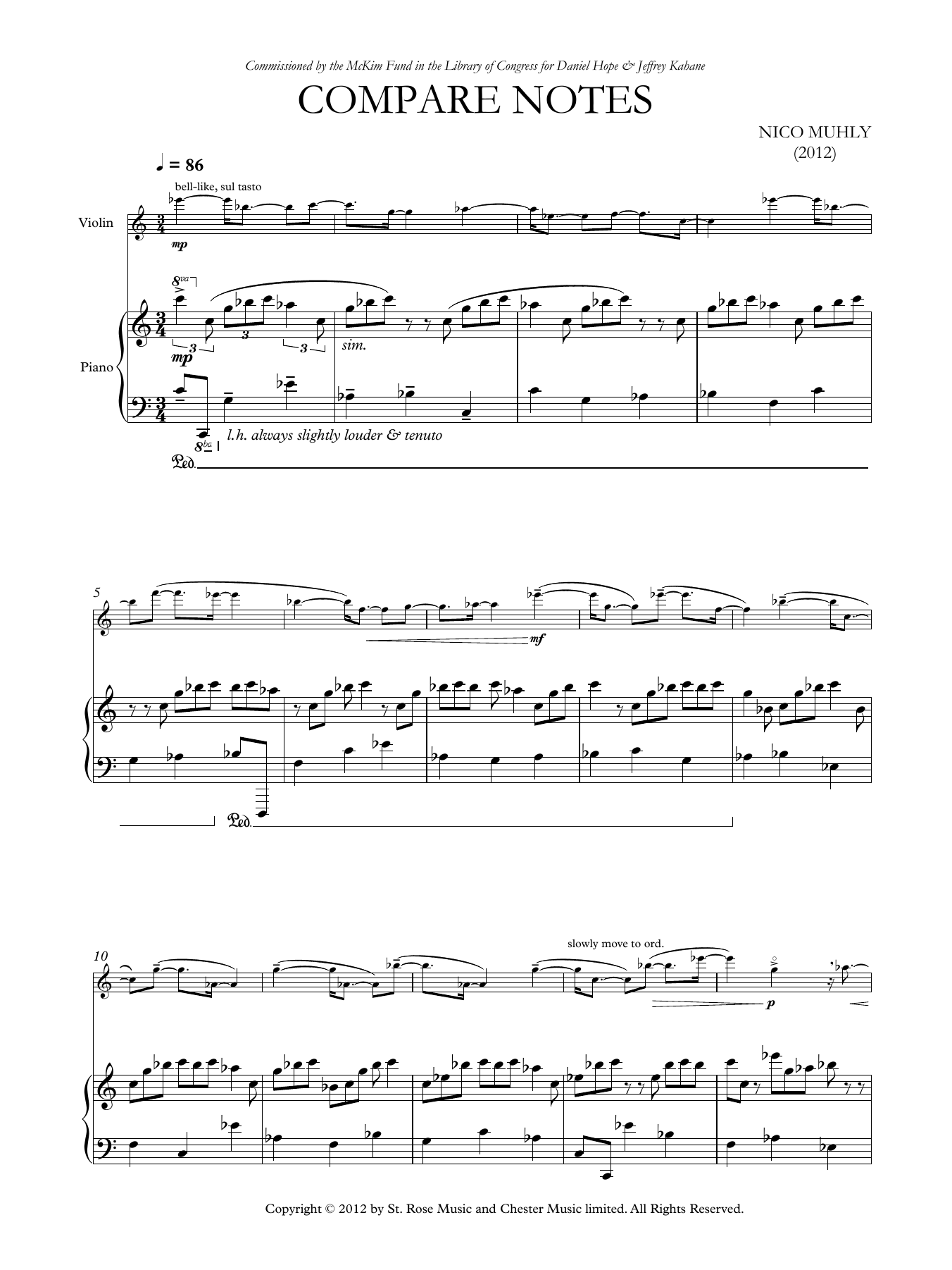 Compare Notes Sheet Music