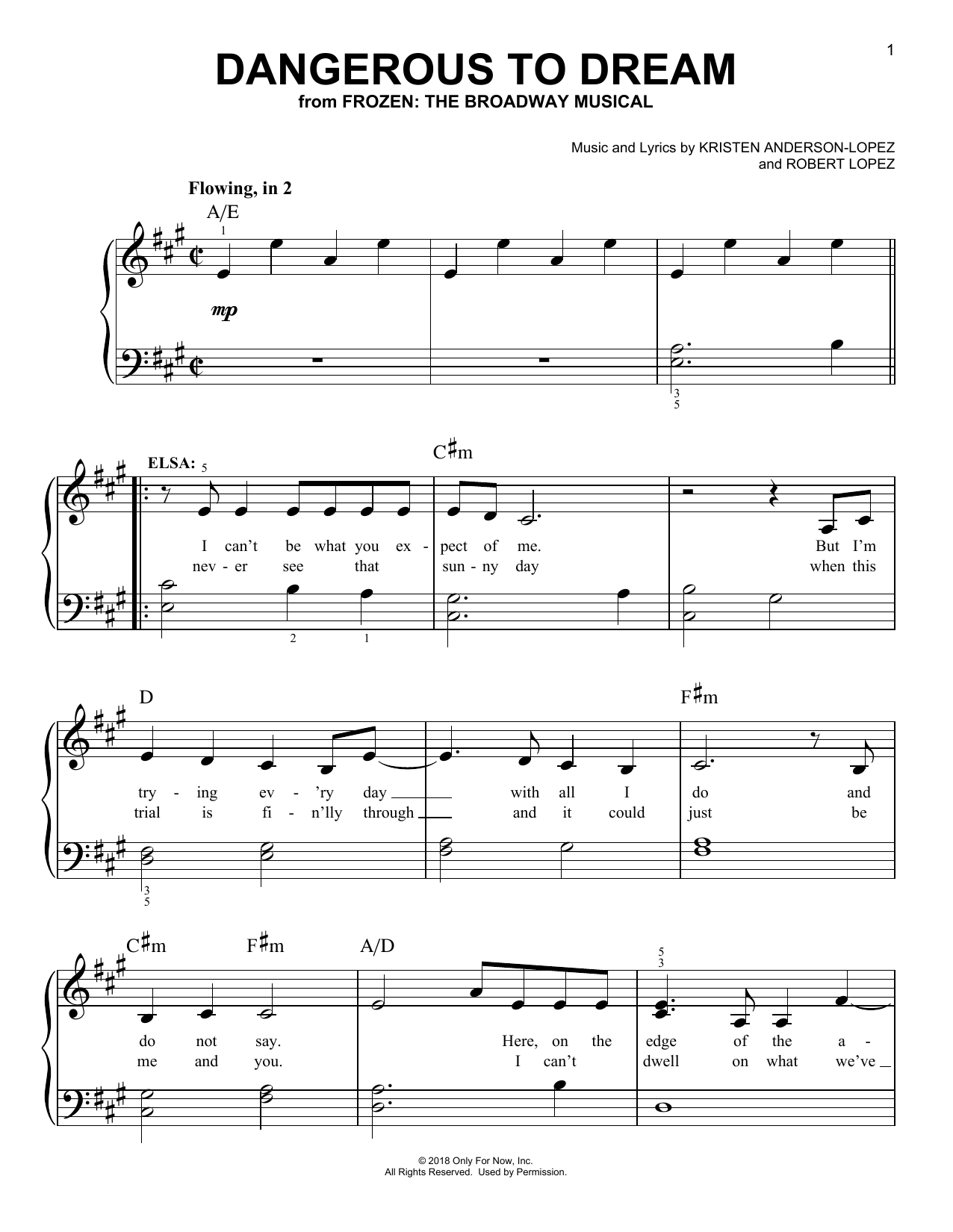 Dangerous To Dream (from Frozen: The Broadway Musical) (Easy Piano)