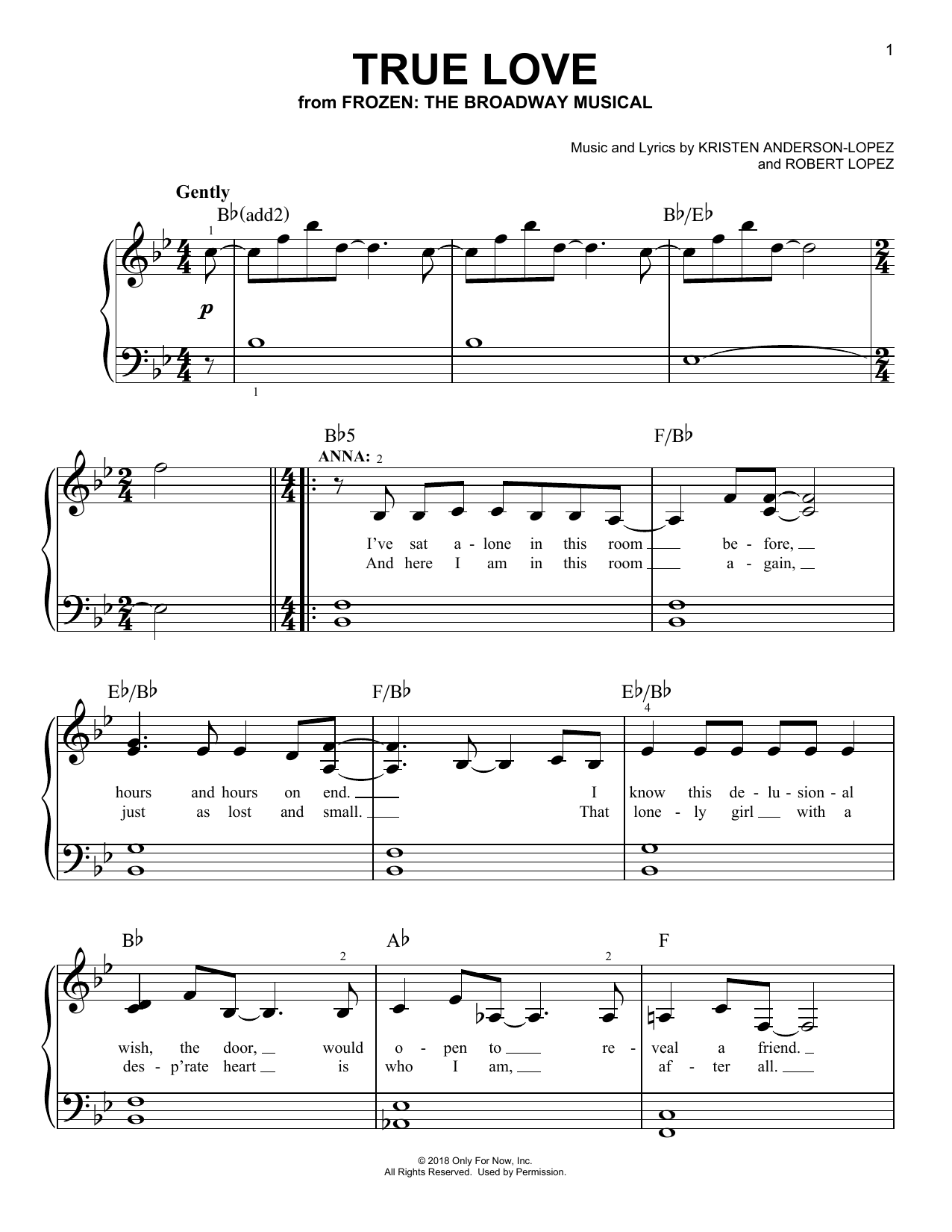 True Love (from Frozen: The Broadway Musical) (Easy Piano)