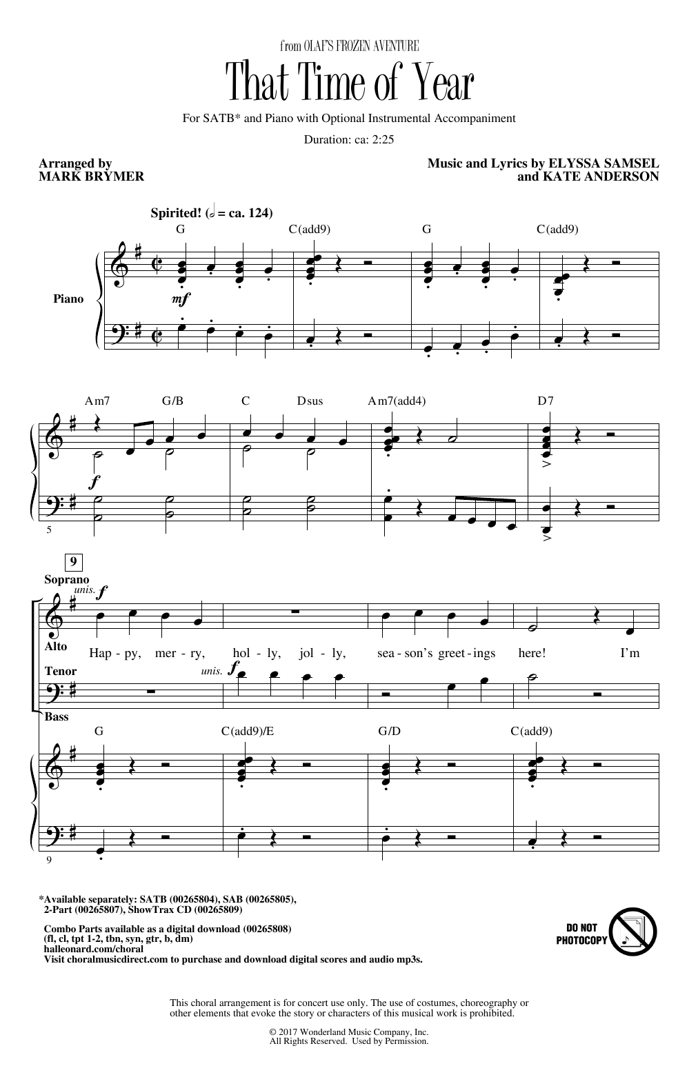 That Time Of Year (arr. Mark Brymer) (SATB Choir)