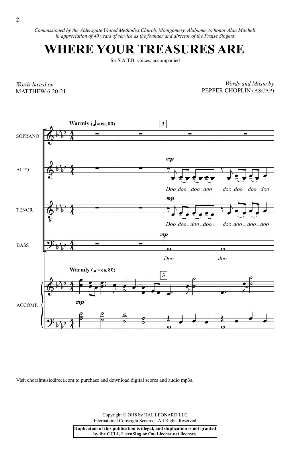 Where Your Treasures Are (SATB Choir)