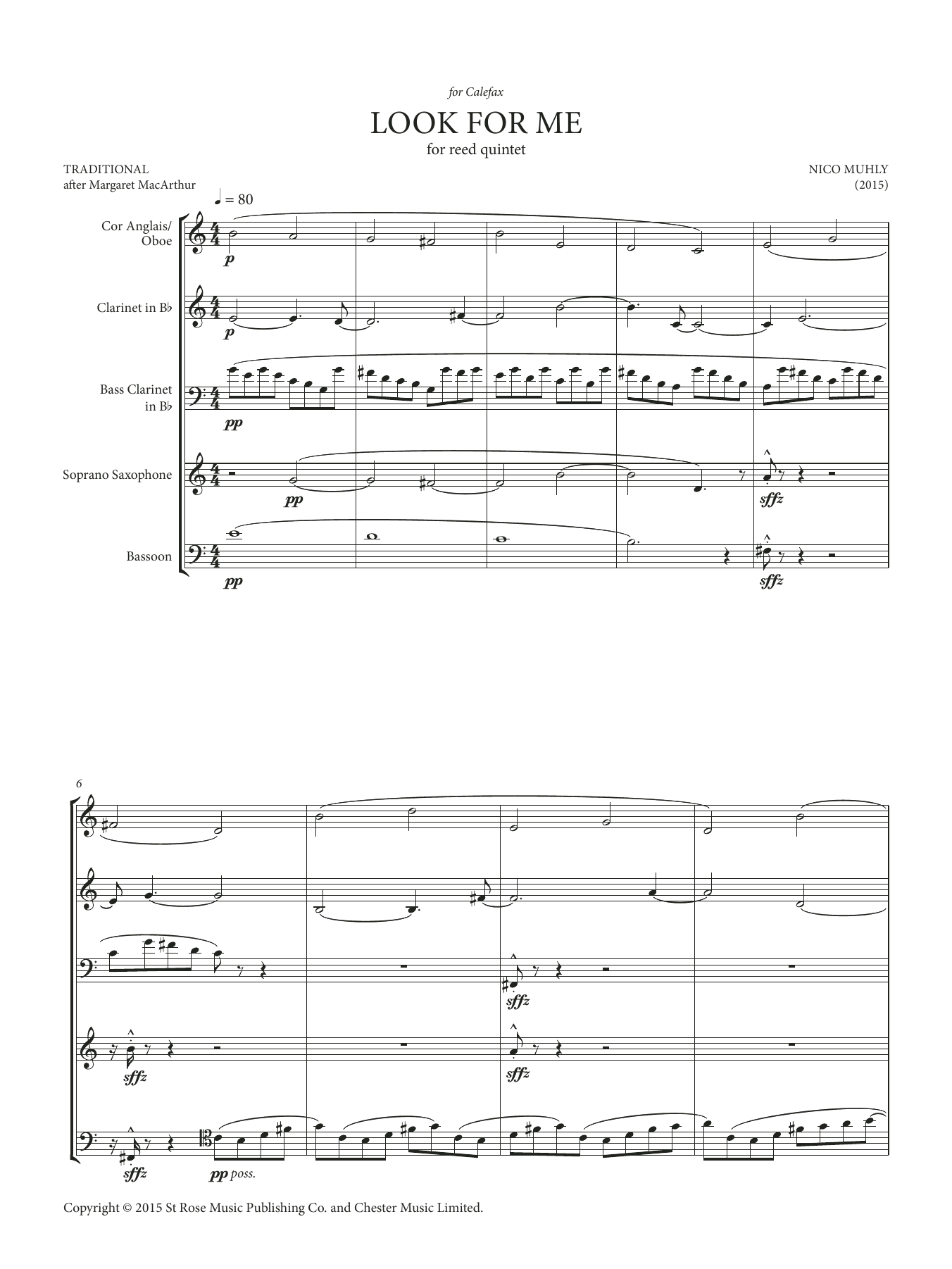 Look For Me (for reed quintet) Sheet Music