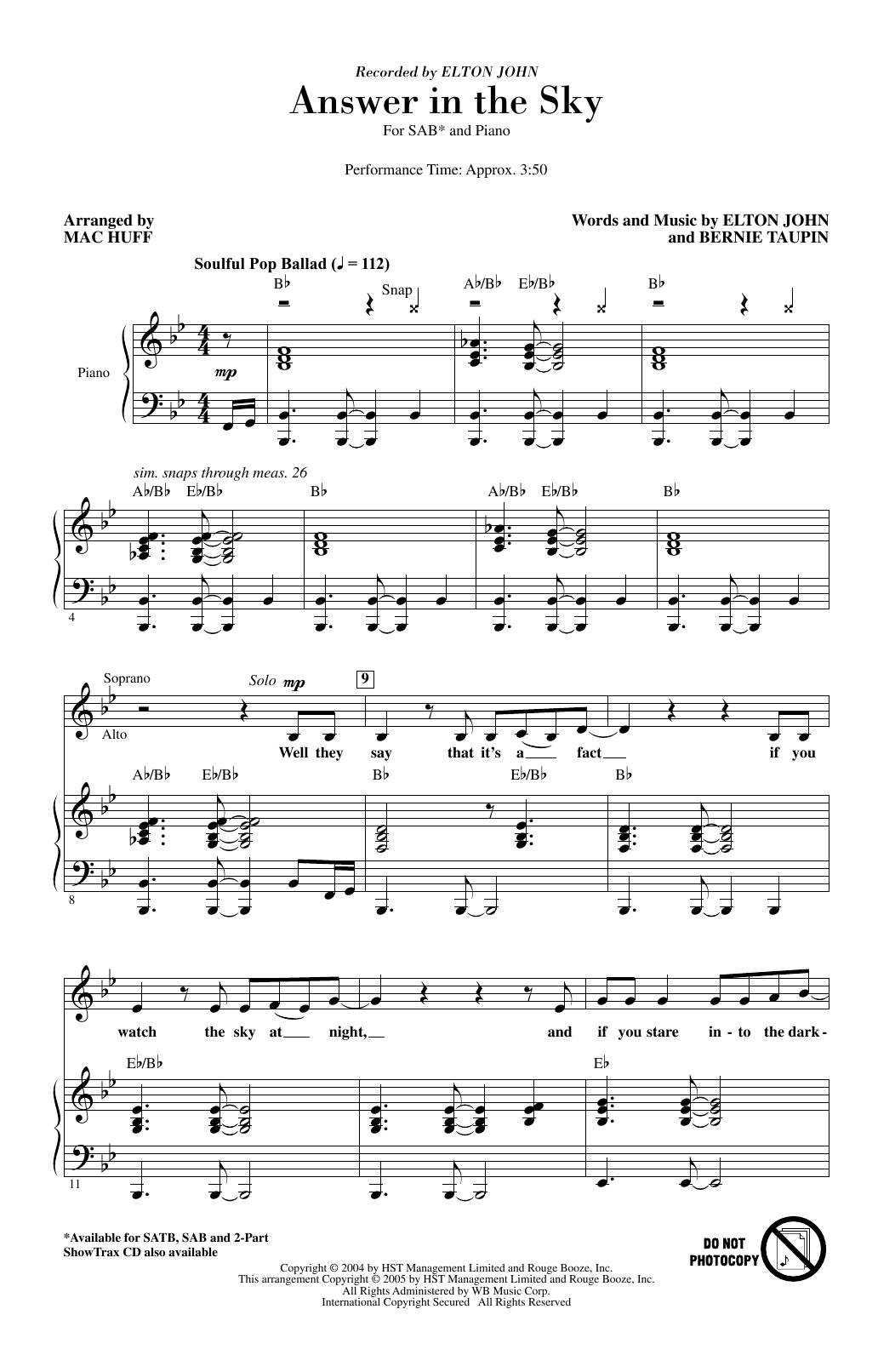 Answer In The Sky (arr. Mac Huff) (SAB Choir)