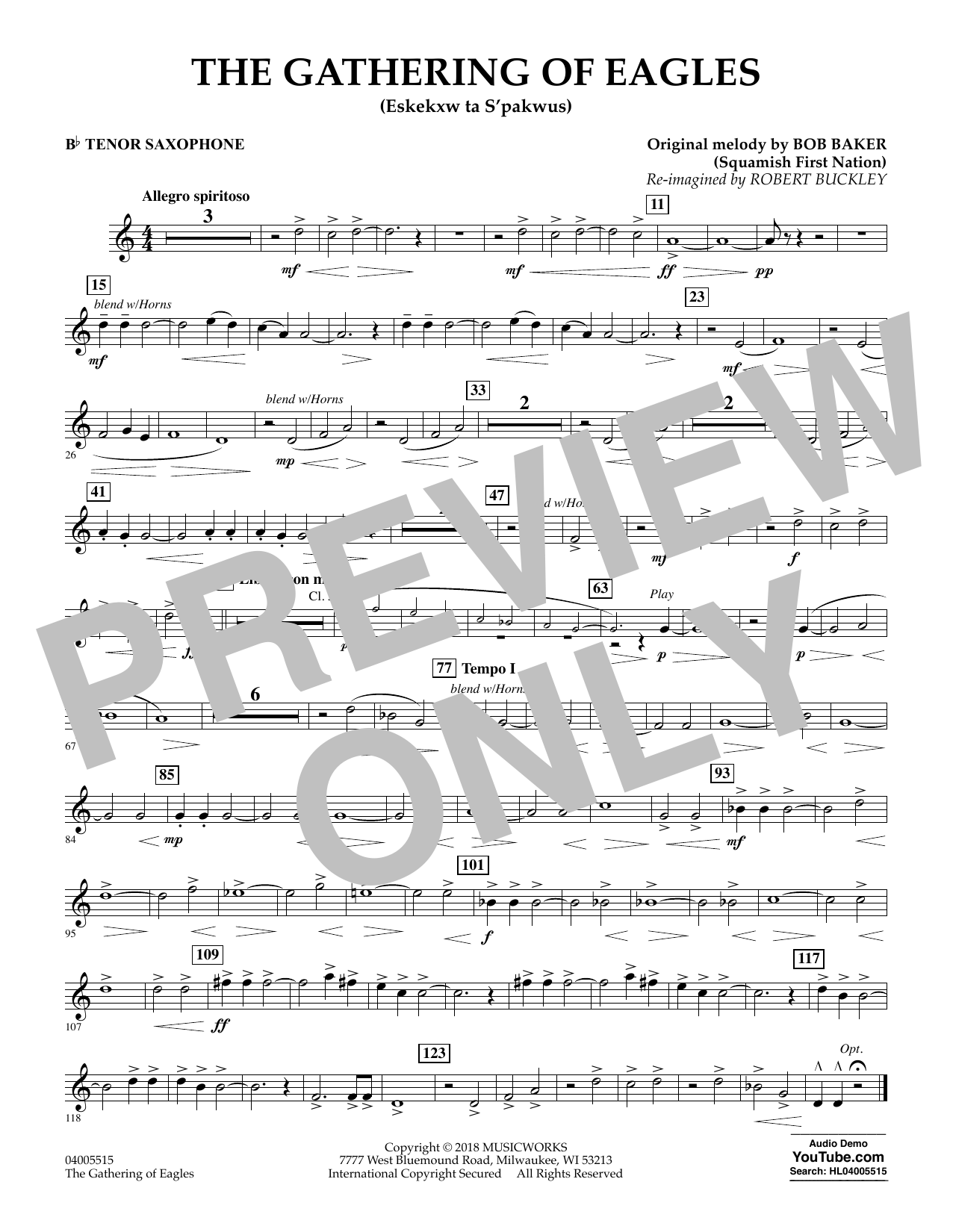 The Gathering of Eagles - Bb Tenor Saxophone (Concert Band)