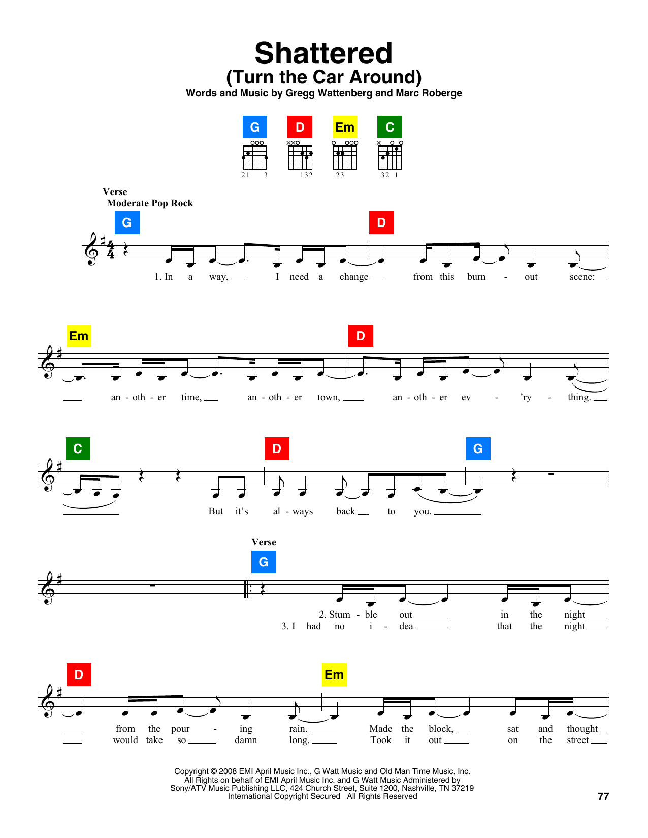 Shattered (Turn The Car Around) Sheet Music