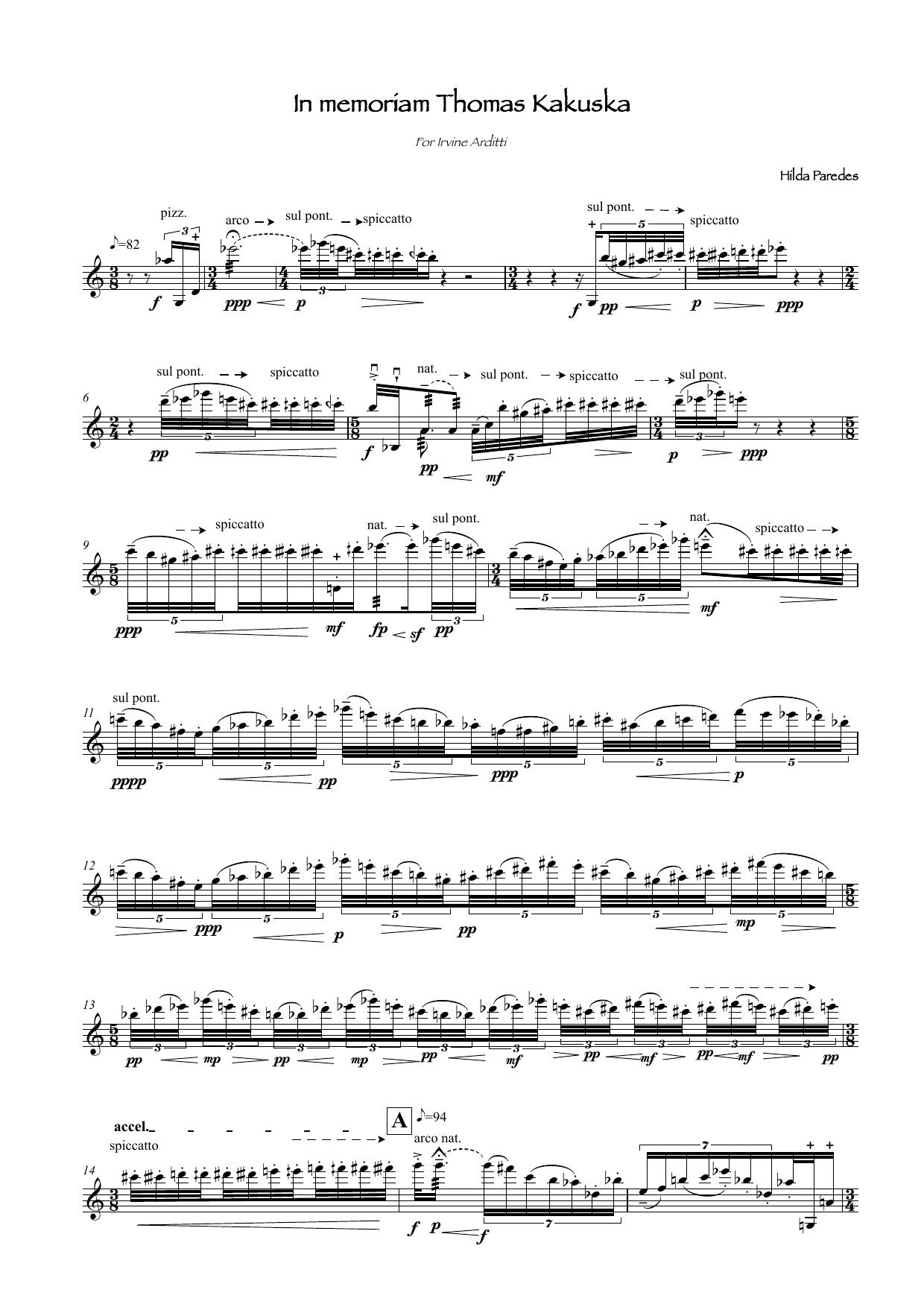In Memoriam Thomas Kakuska Sheet Music