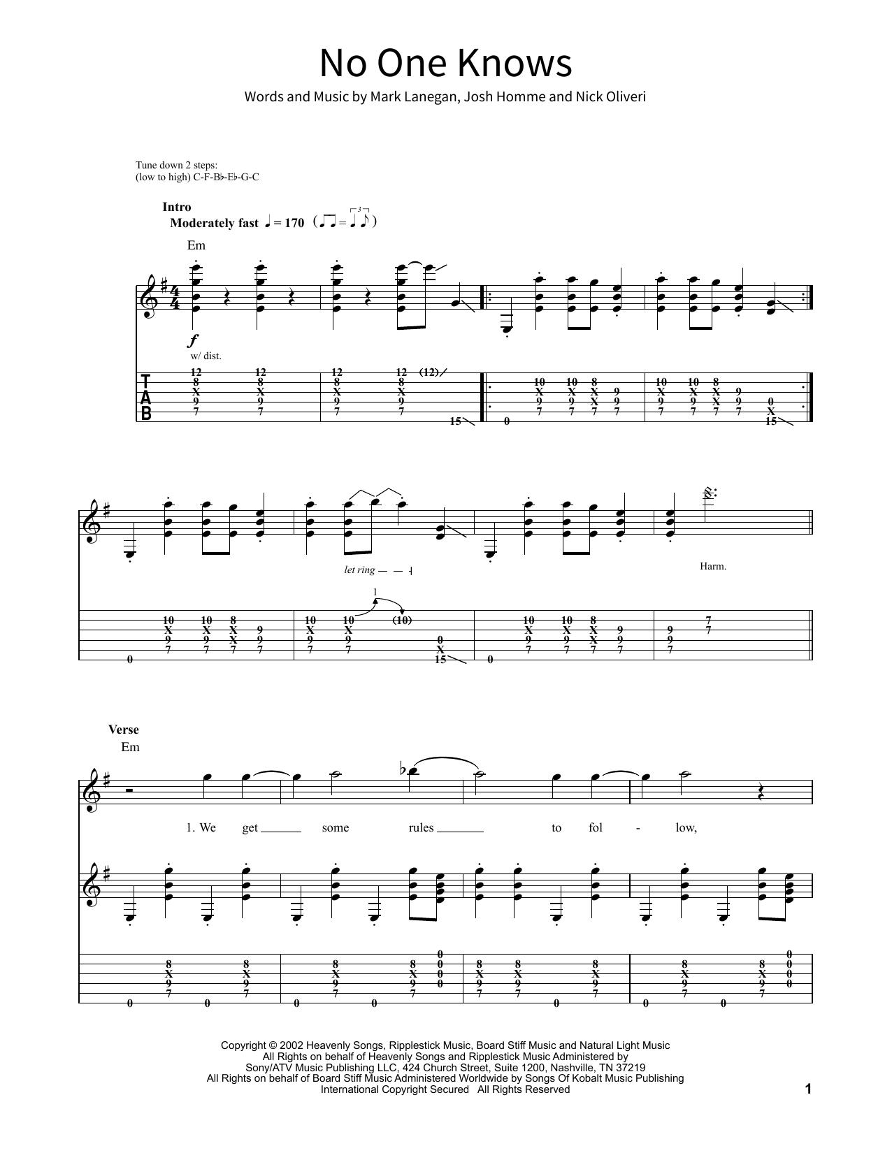 No One Knows Noten   Queens Of The Stone Age   School of Rock –  Gitarren Tabulatur