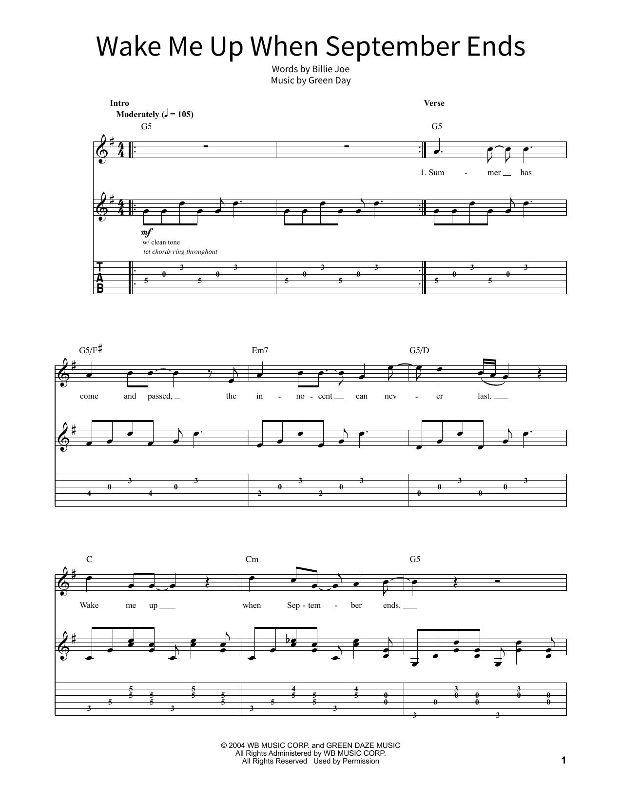 Wake Me Up When September Ends Noten   Green Day   School of Rock –  Gitarren Tabulatur