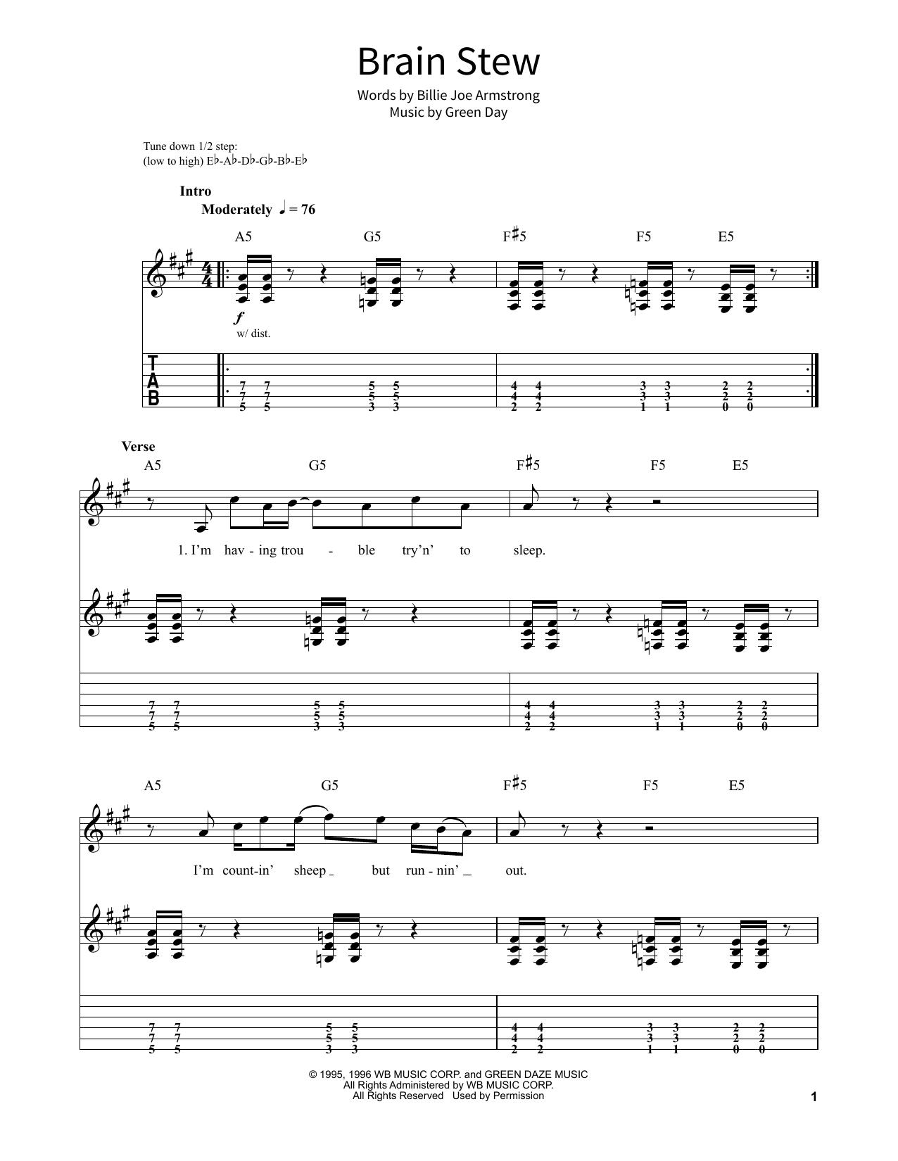 Brain Stew Sheet Music