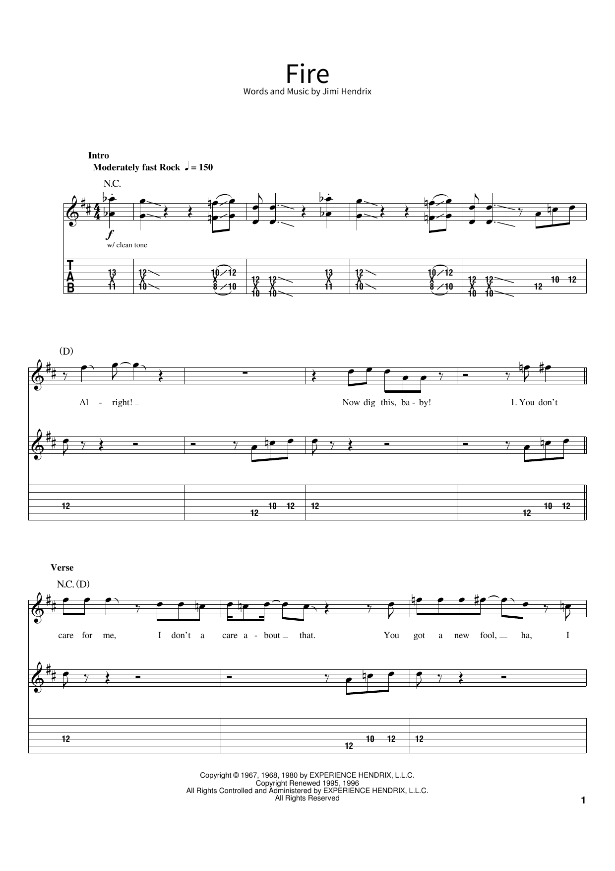 Fire (School of Rock – Guitar Tab)