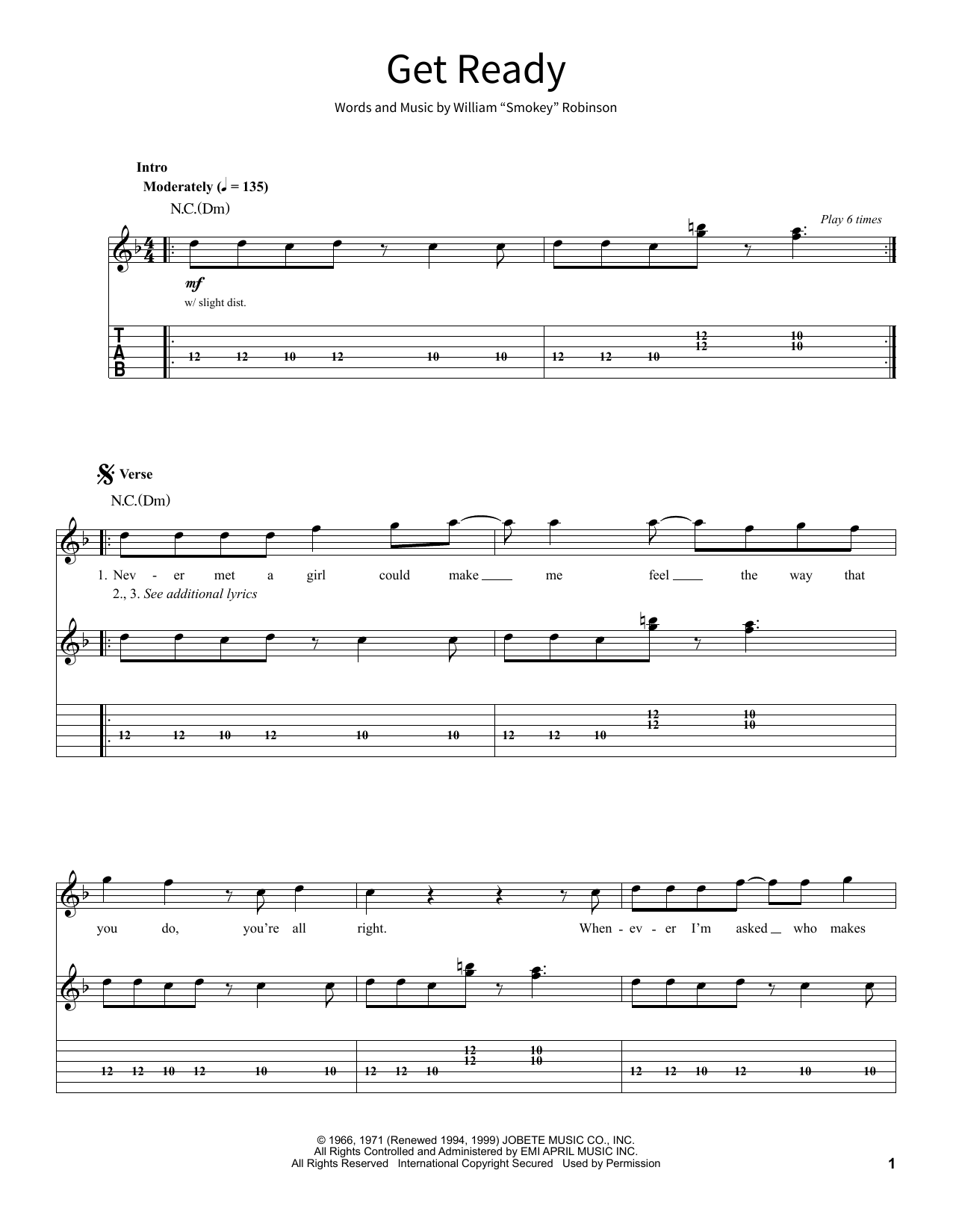 Get Ready (School of Rock - Guitar Tab)