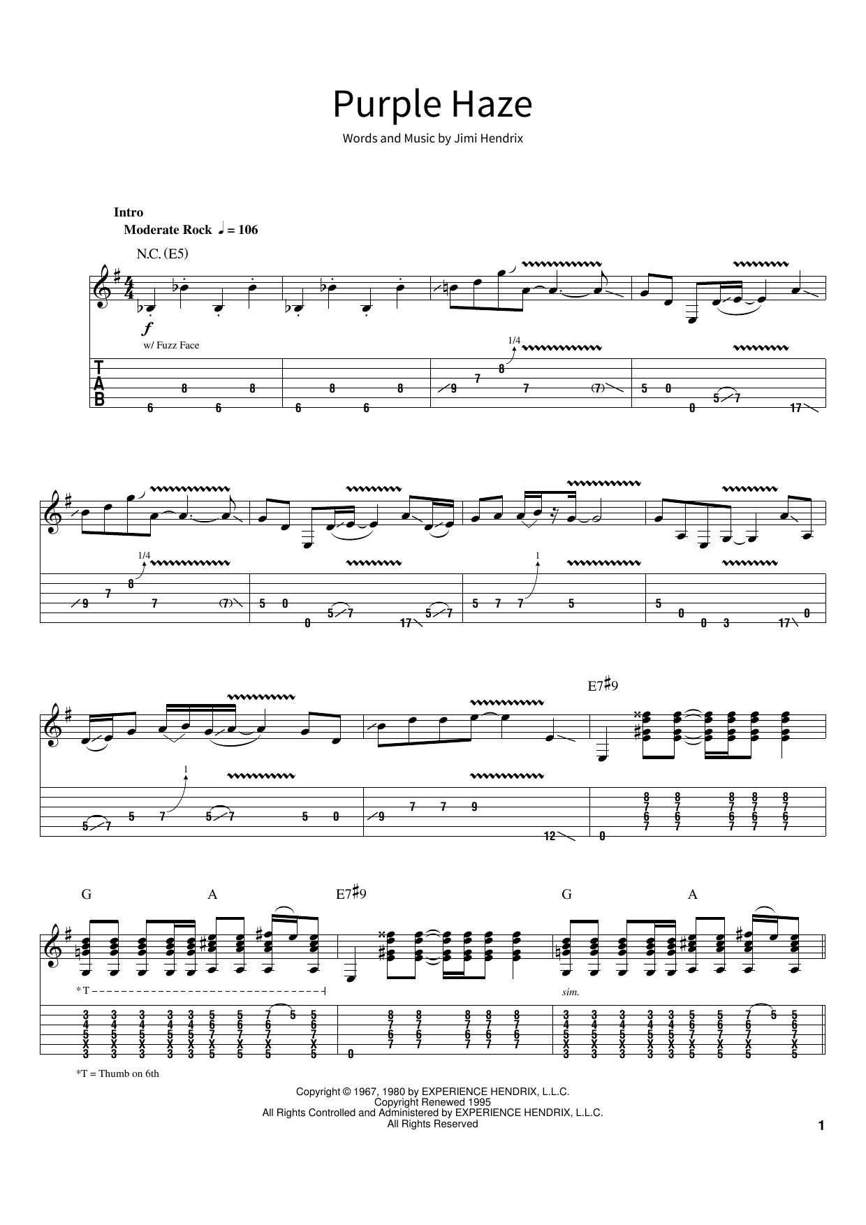Purple Haze (School of Rock – Guitar Tab)