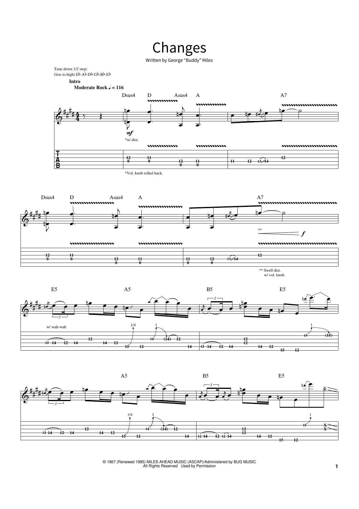 Changes (School of Rock – Guitar Tab)